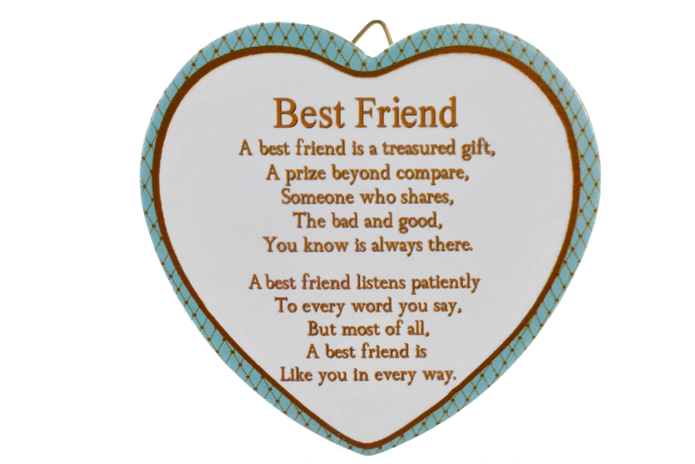 11cm Heart Hanger Sentiments - Best Friend