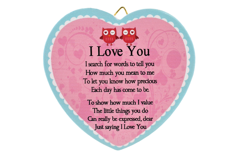 11cm Heart Hanger Sentiments - I Love You