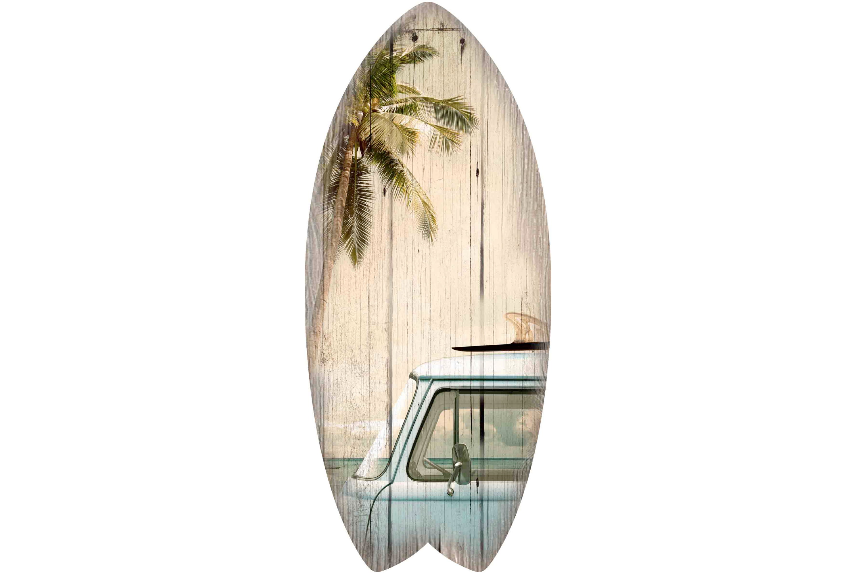 30 x 13cm Wooden Surfboard Surfbus Palm Tree Design