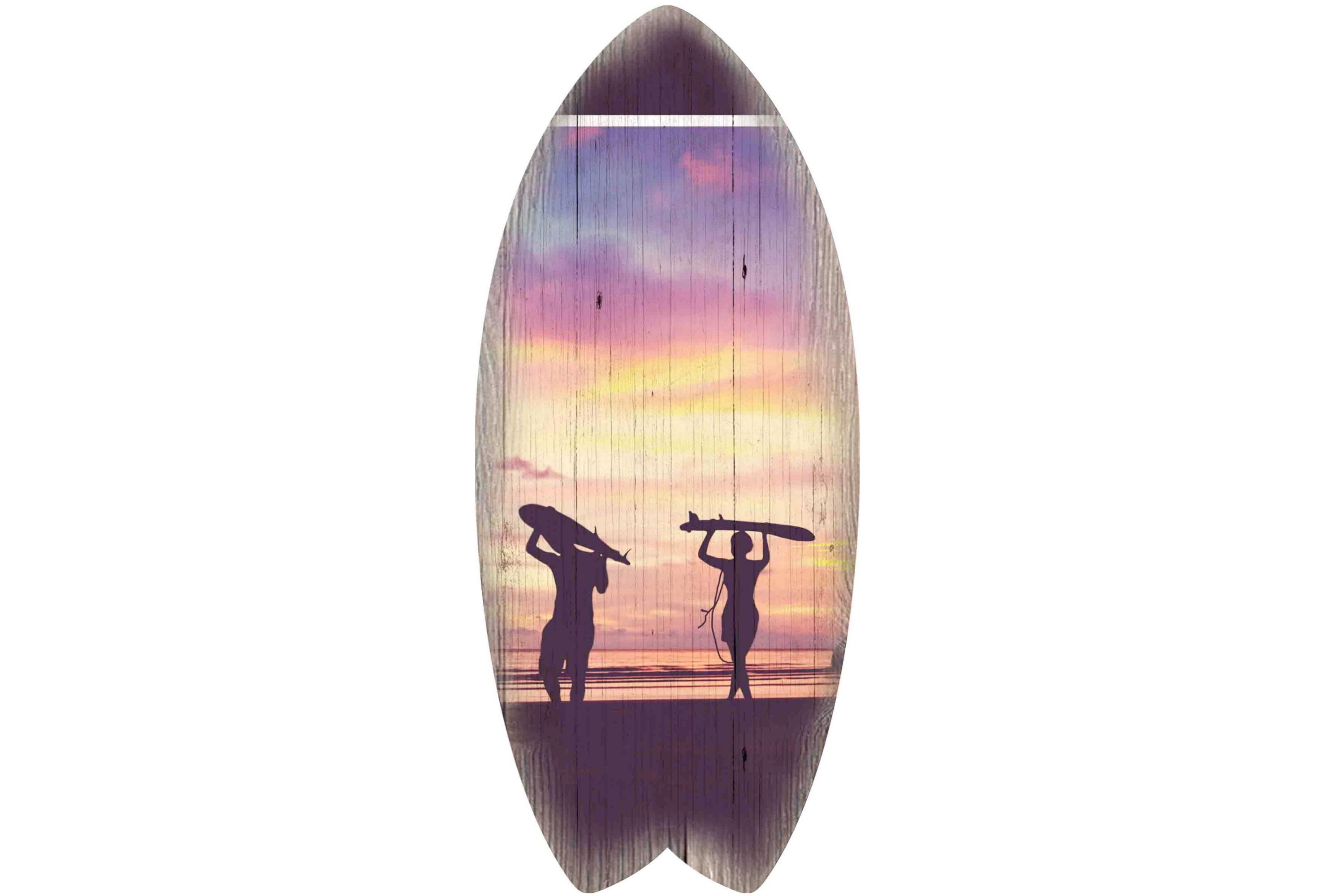30 x 13cm Wooden Surfboard Sunset Surfers Design