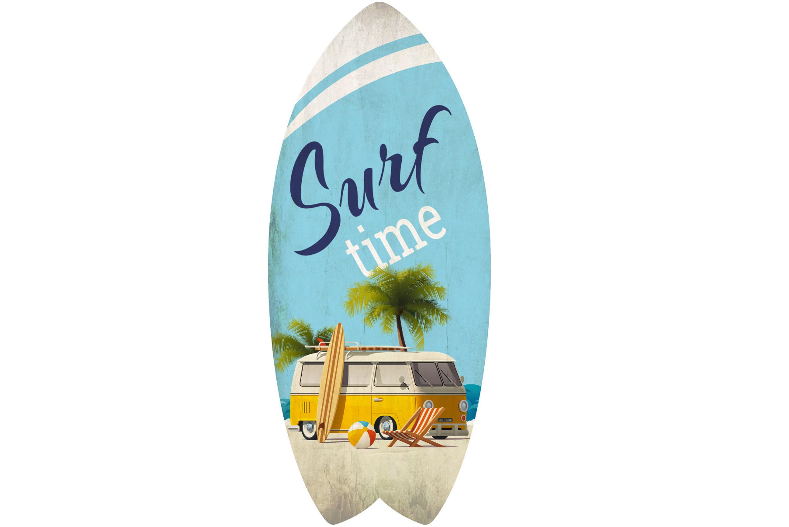 30 x 13cm Wooden Surfboard Vintage Surf Design