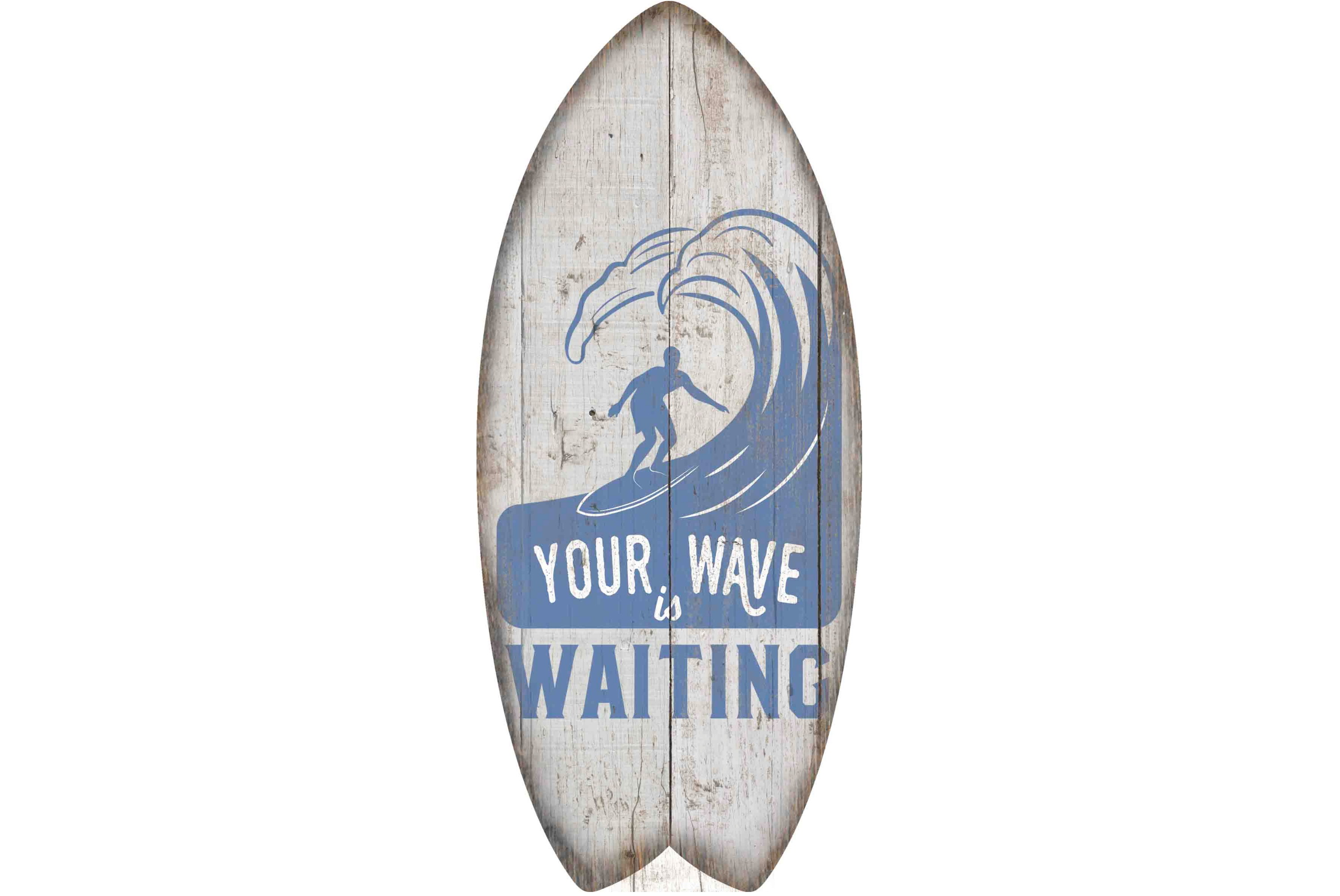 30 x 13cm Wooden Surfboard Your Wave Design