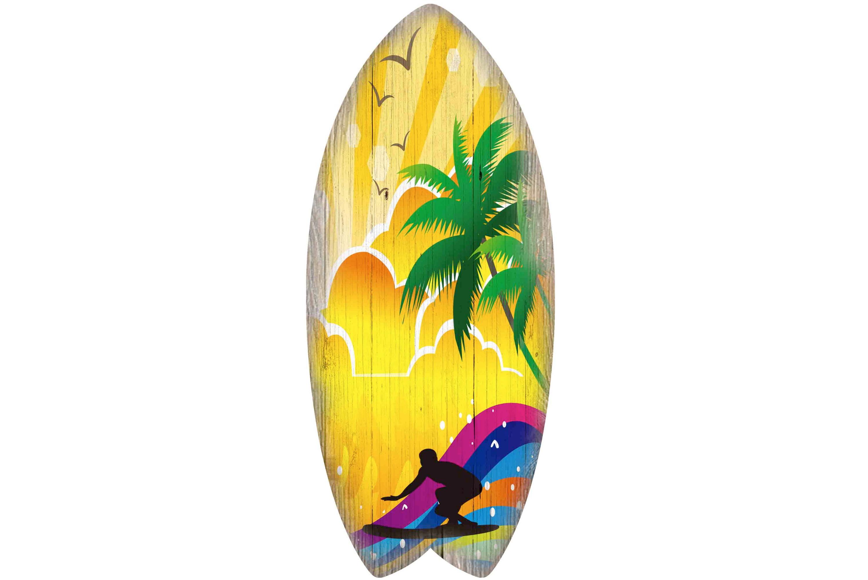 30 x 13cm Wooden Surfboard Multi Colour Surfer Design