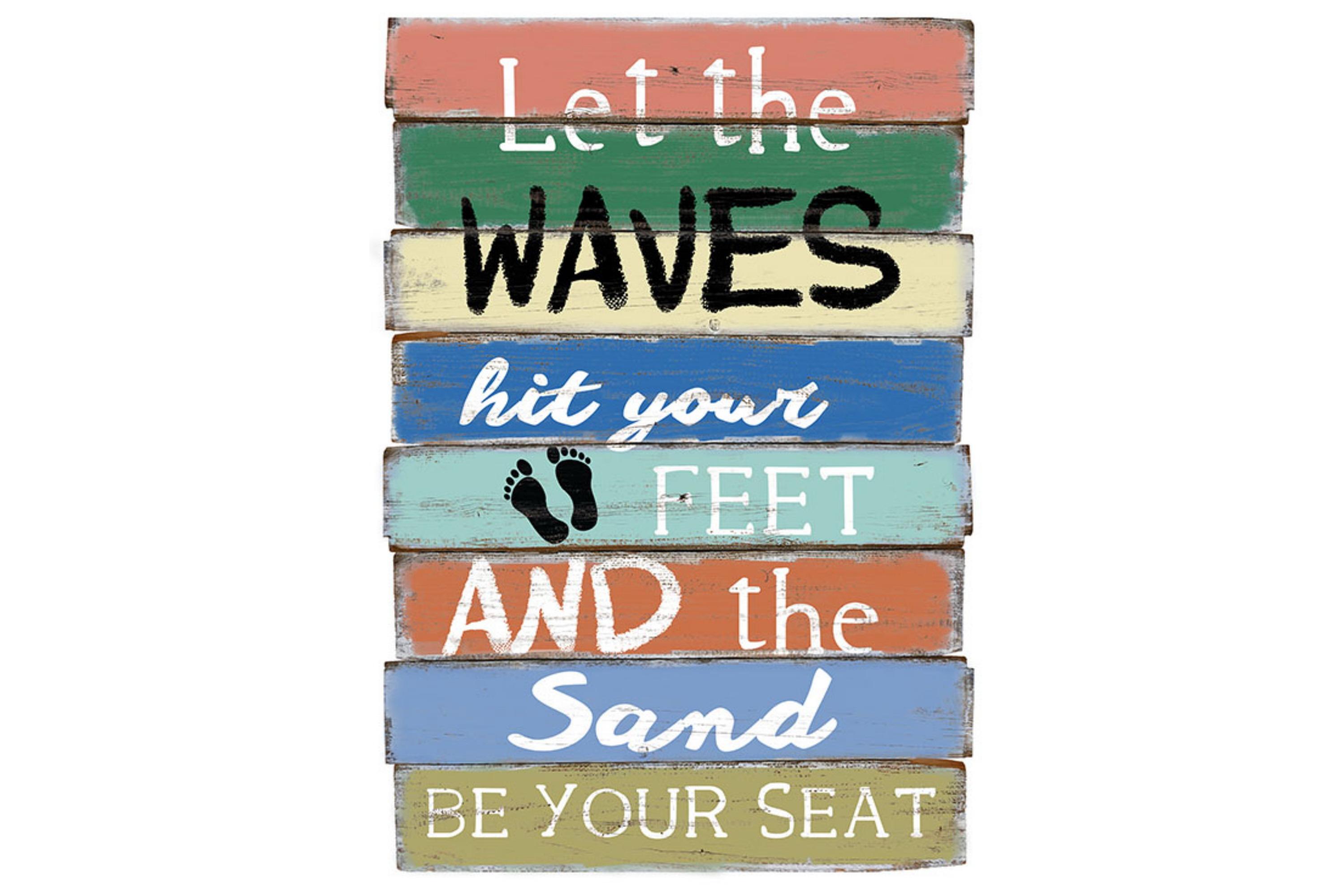 """60 x 30cm Wood Sign """"Waves"""" Design"""