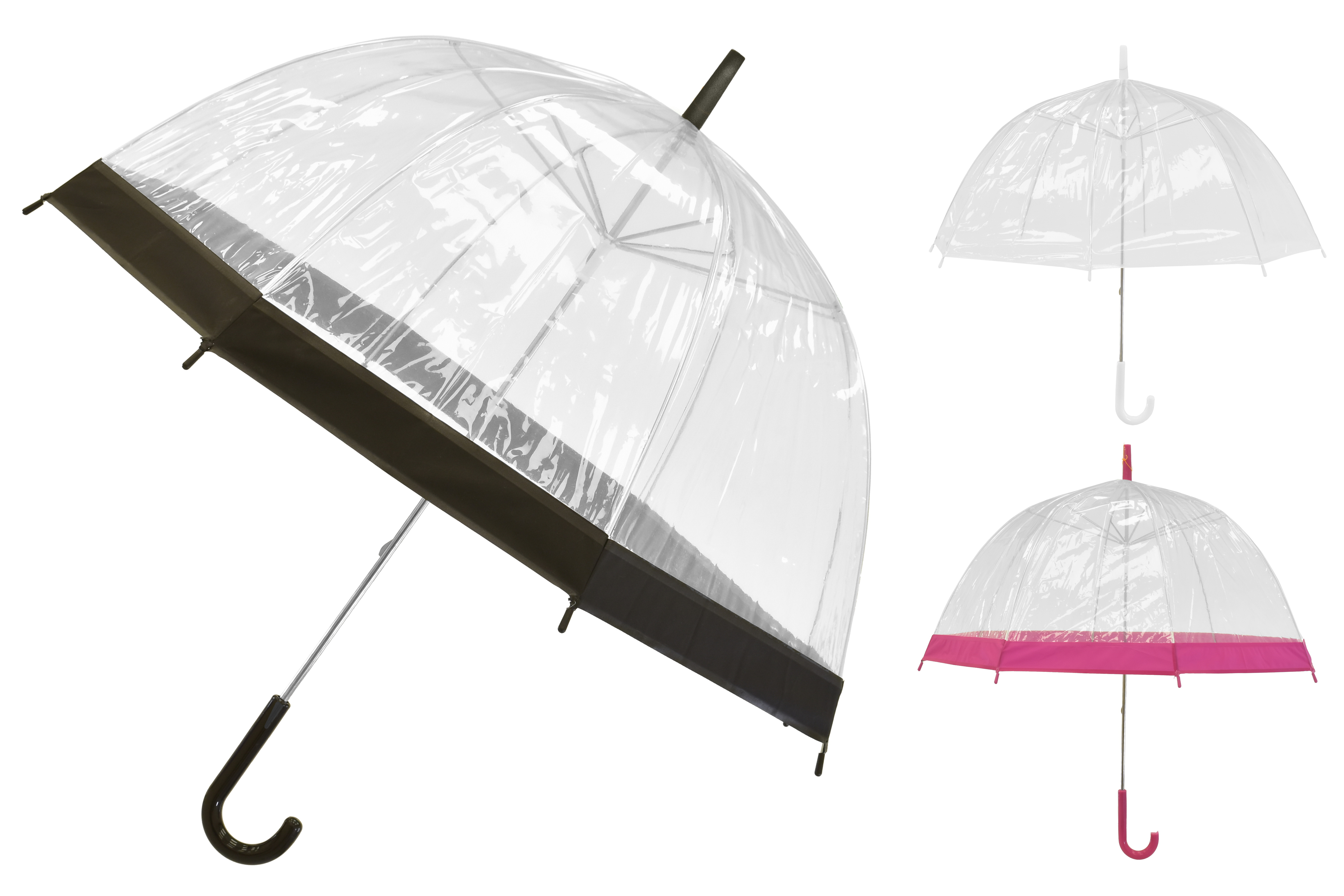 "23""/58cm Rib Transparent Umbrella - Assorted Colours"