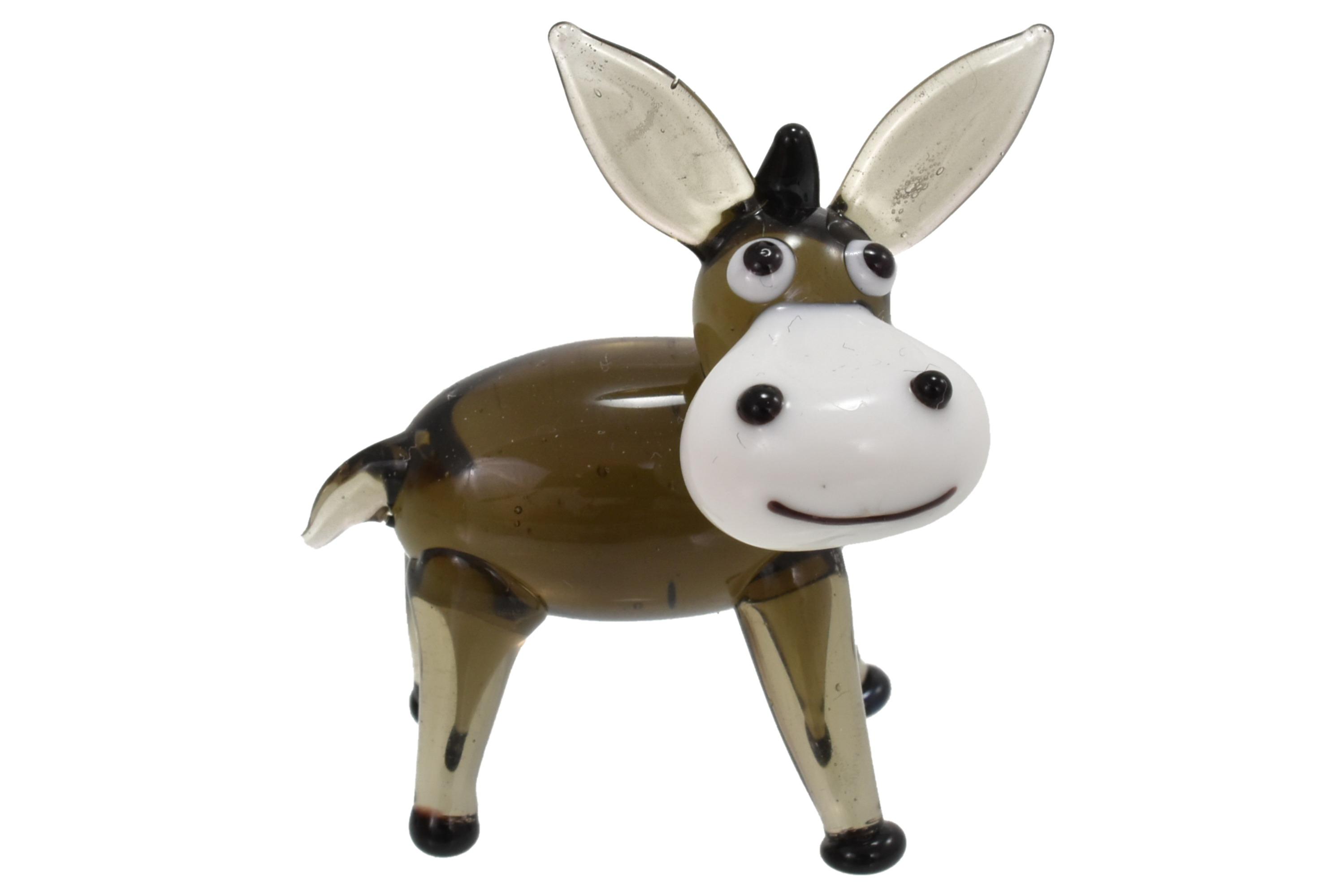 4.5cm Glass Donkey Ornament