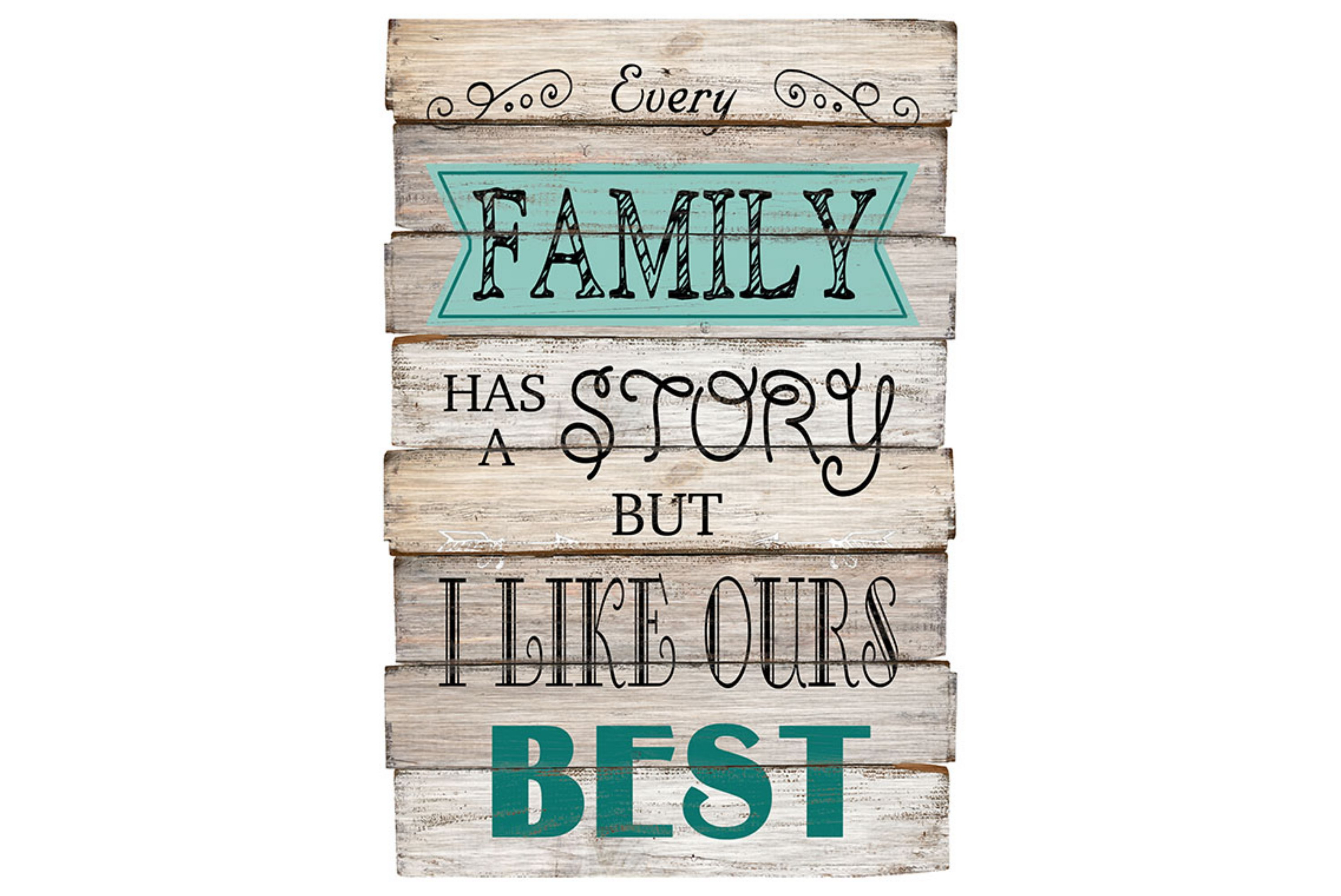"60 x 30cm Wood Sign Family ""Story"" Design"