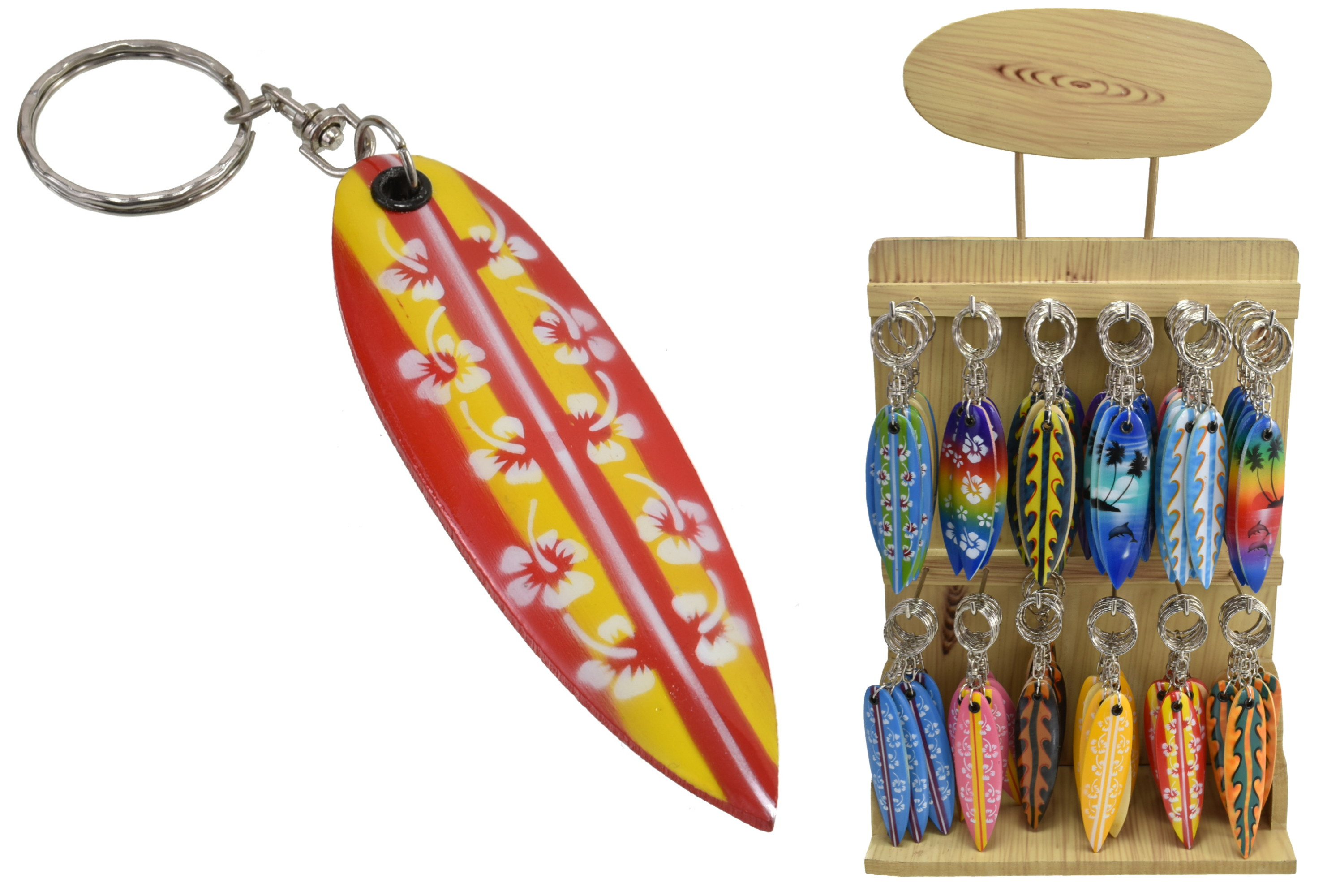 Surfboard Keyring On Display Stand