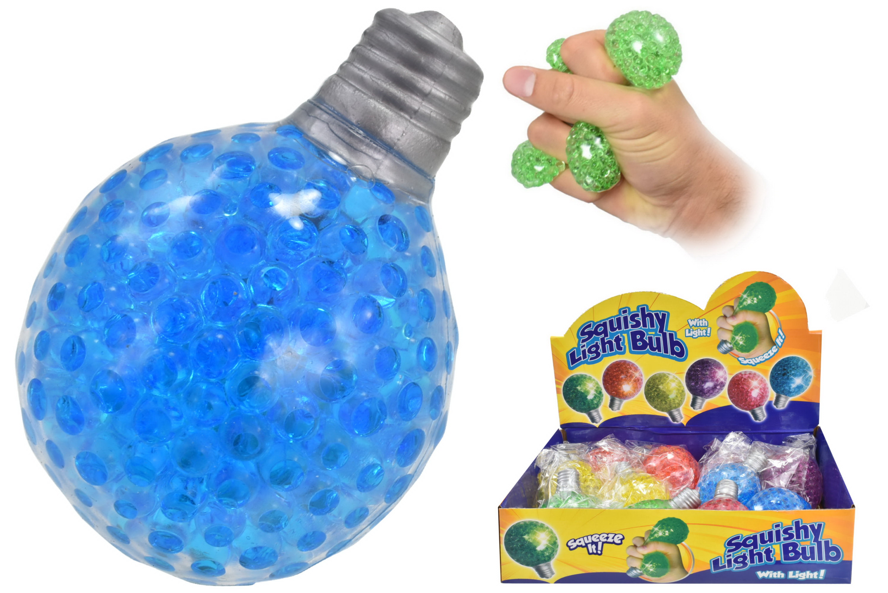 6.5 x 8cm Squishy Lightbulb With Light In D/Box