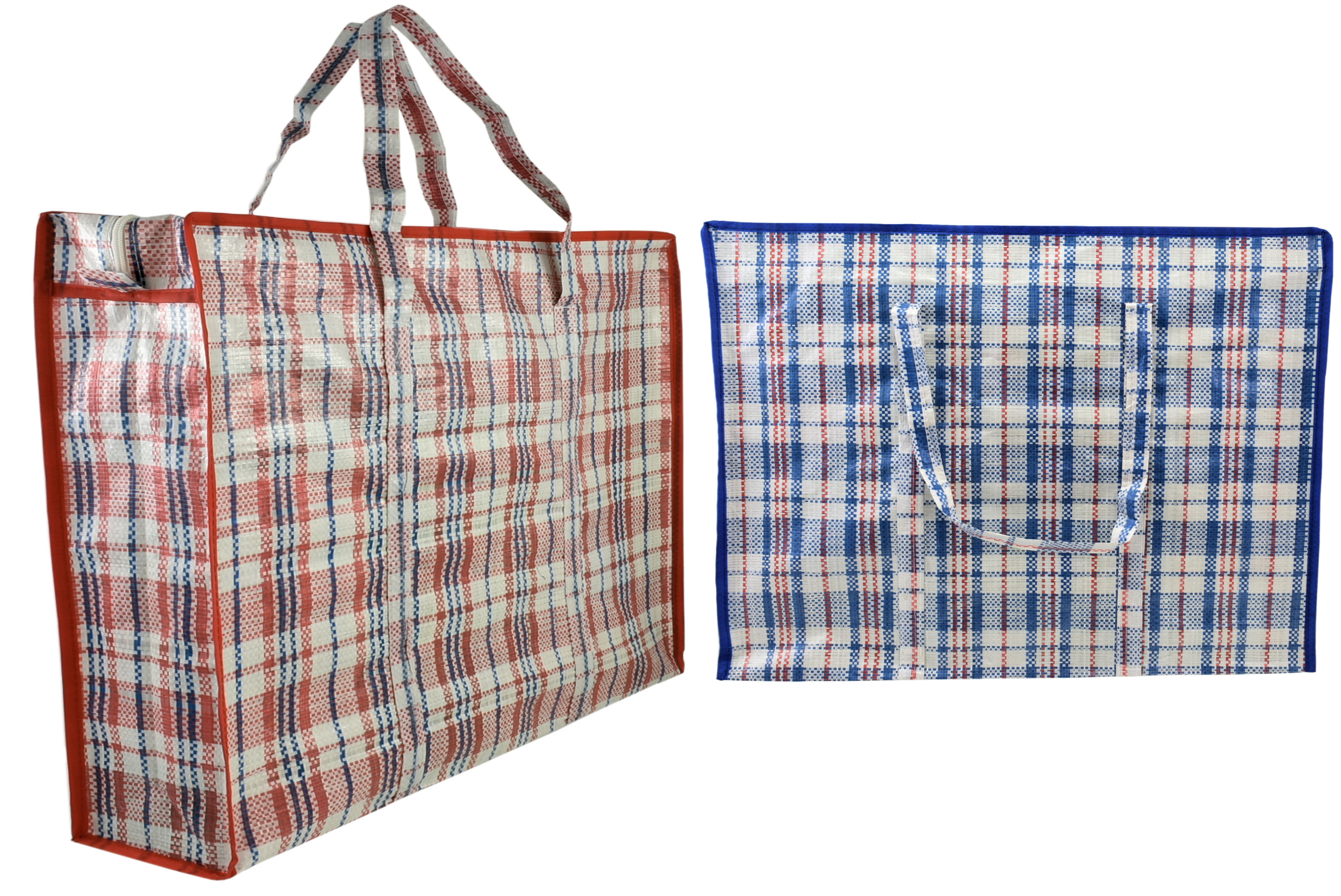 50x50x13cm Striped Shopping Bag 95gm 2 Asst Red & Blue