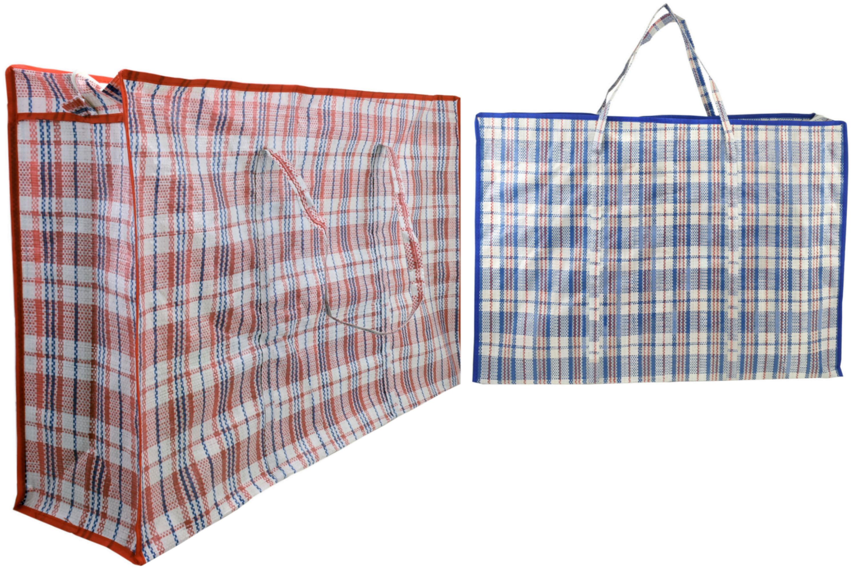 80x52x20cm Striped Shopping Bag 95gm 2 Asst Red & Blue