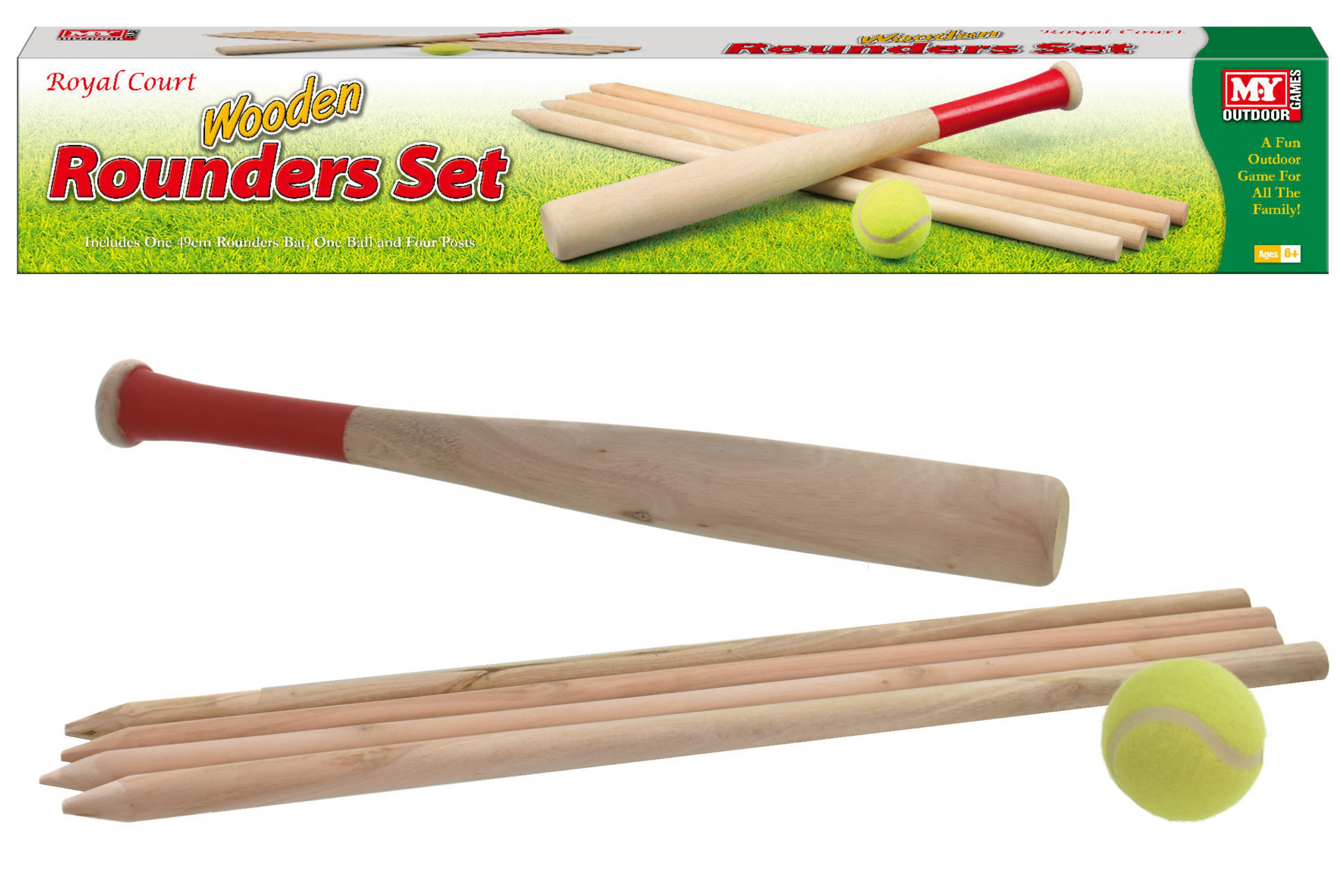Wooden Rounders Set In Colour Box