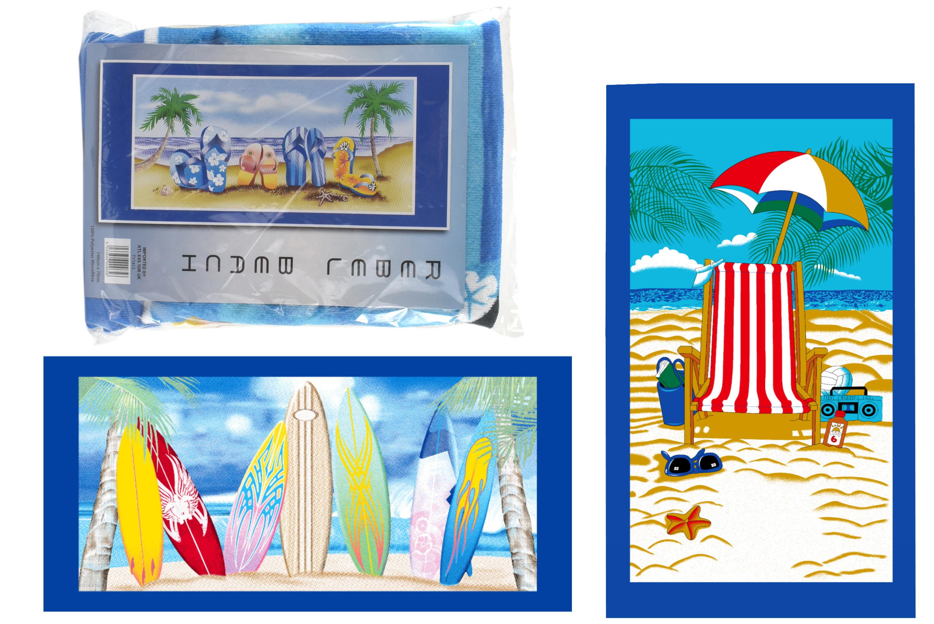 140x70cm Microfibre Beach Towel 250gm 3 Assorted Beach