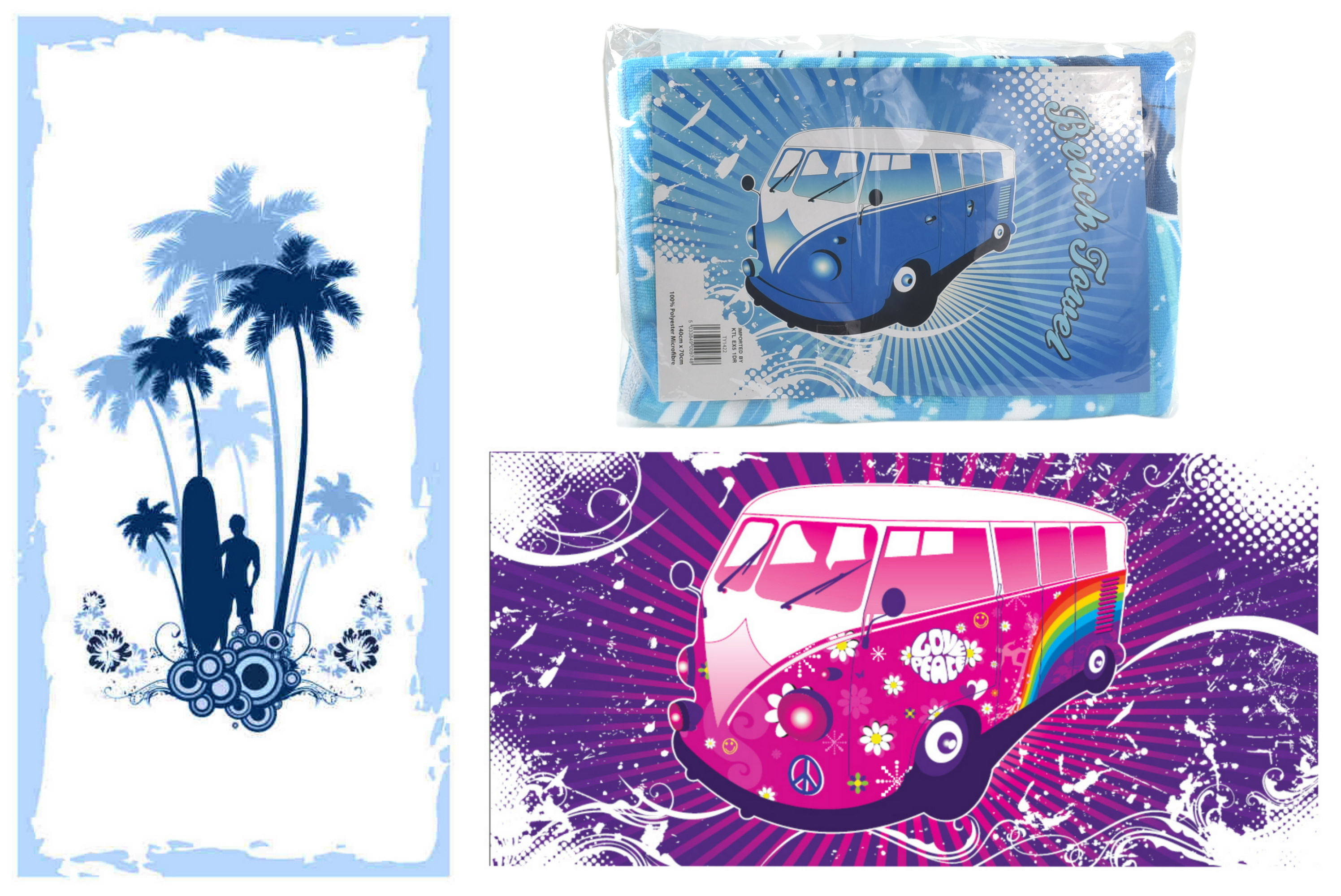 140x70cm Microfibre Beach Towel 250gsm 3 Assorted Surf