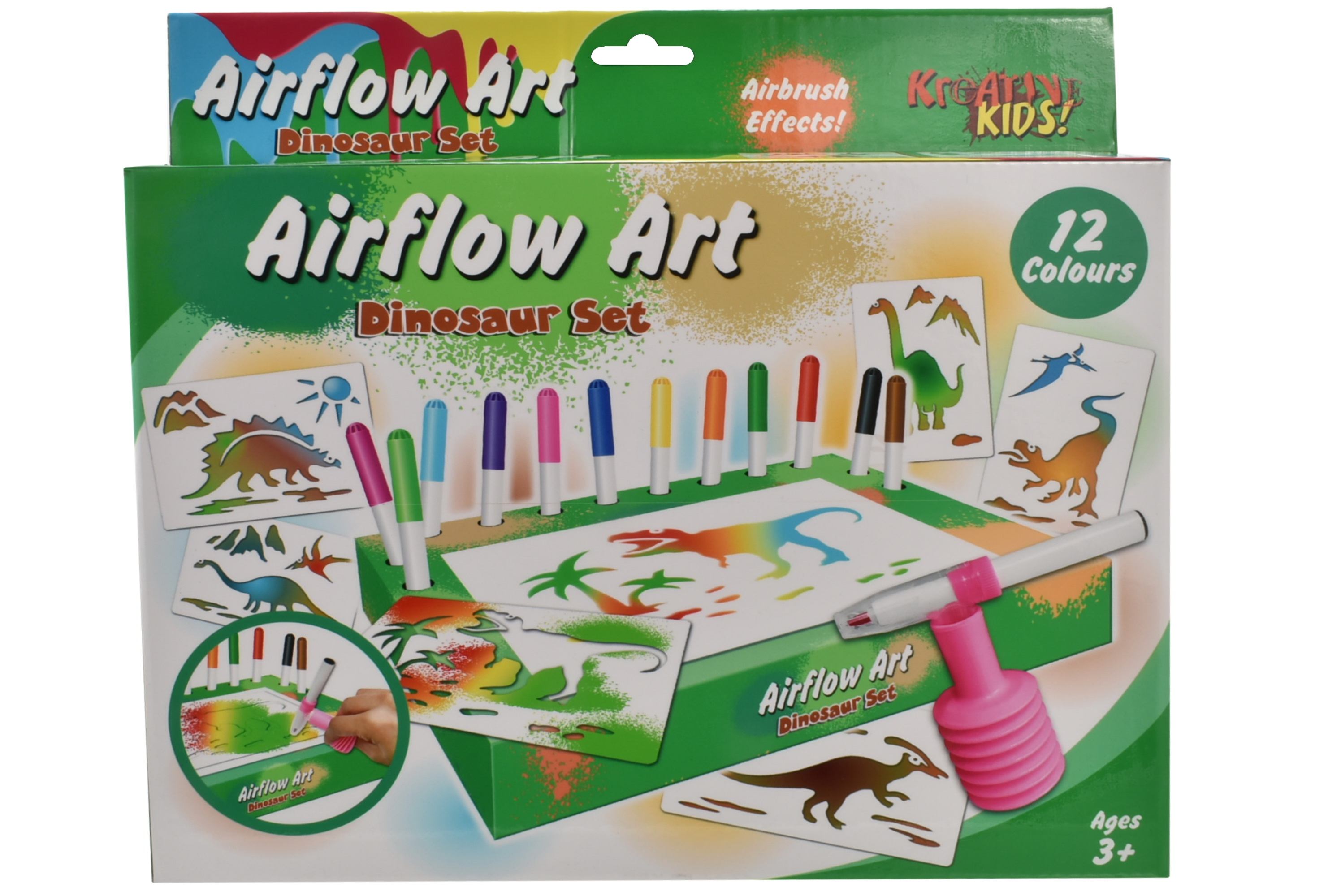 Dinosaur Air Flow Pens Playset In Hanging Box