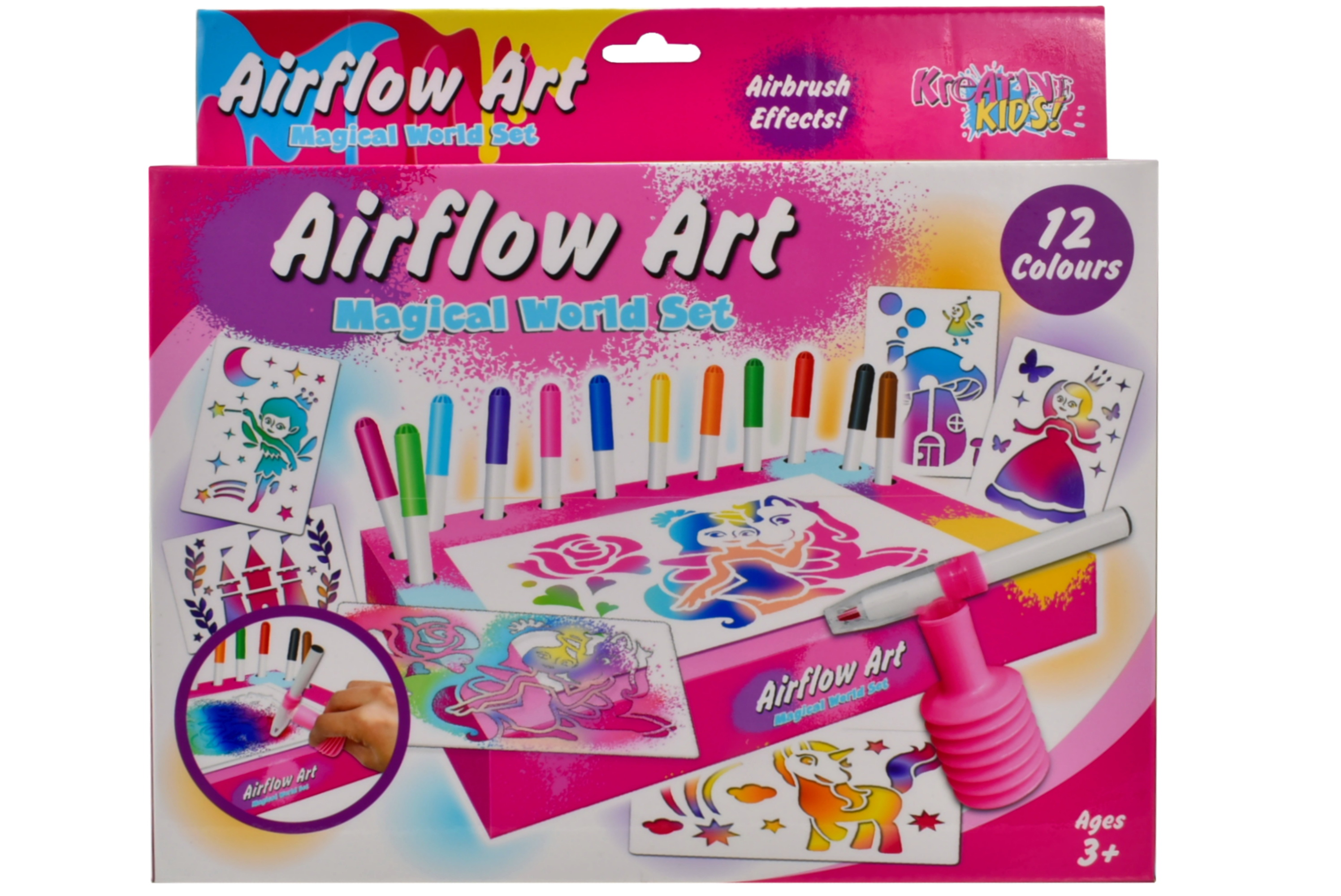 Magical World Air Flow Pens Playset In Hanging Box