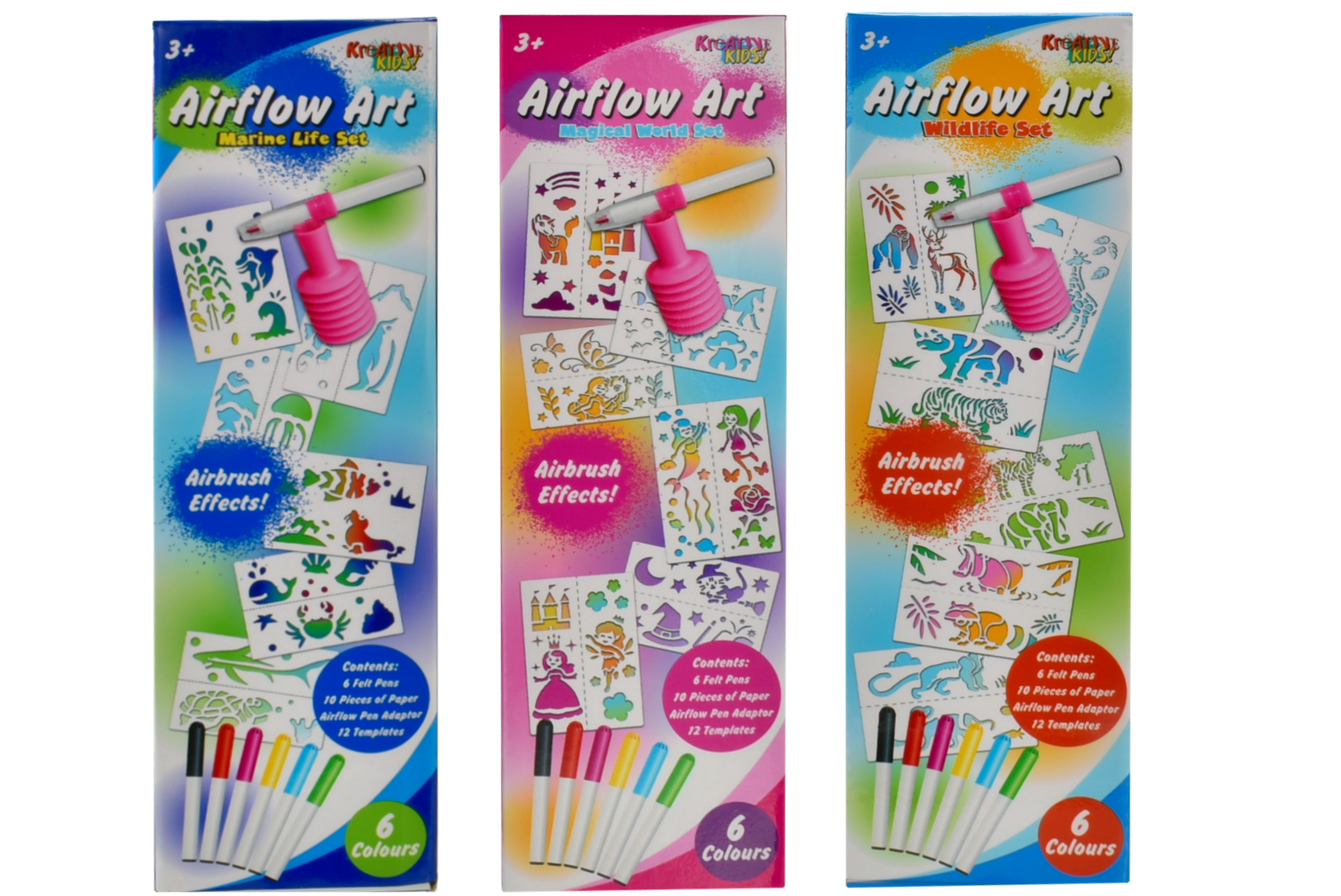 3 Assorted Air Flow Pen Playsets In Colour Box