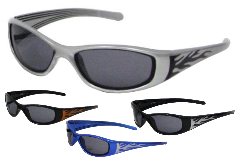 Jnr Plastic Wrap Sunglasses With Flame Print (4 Asst)