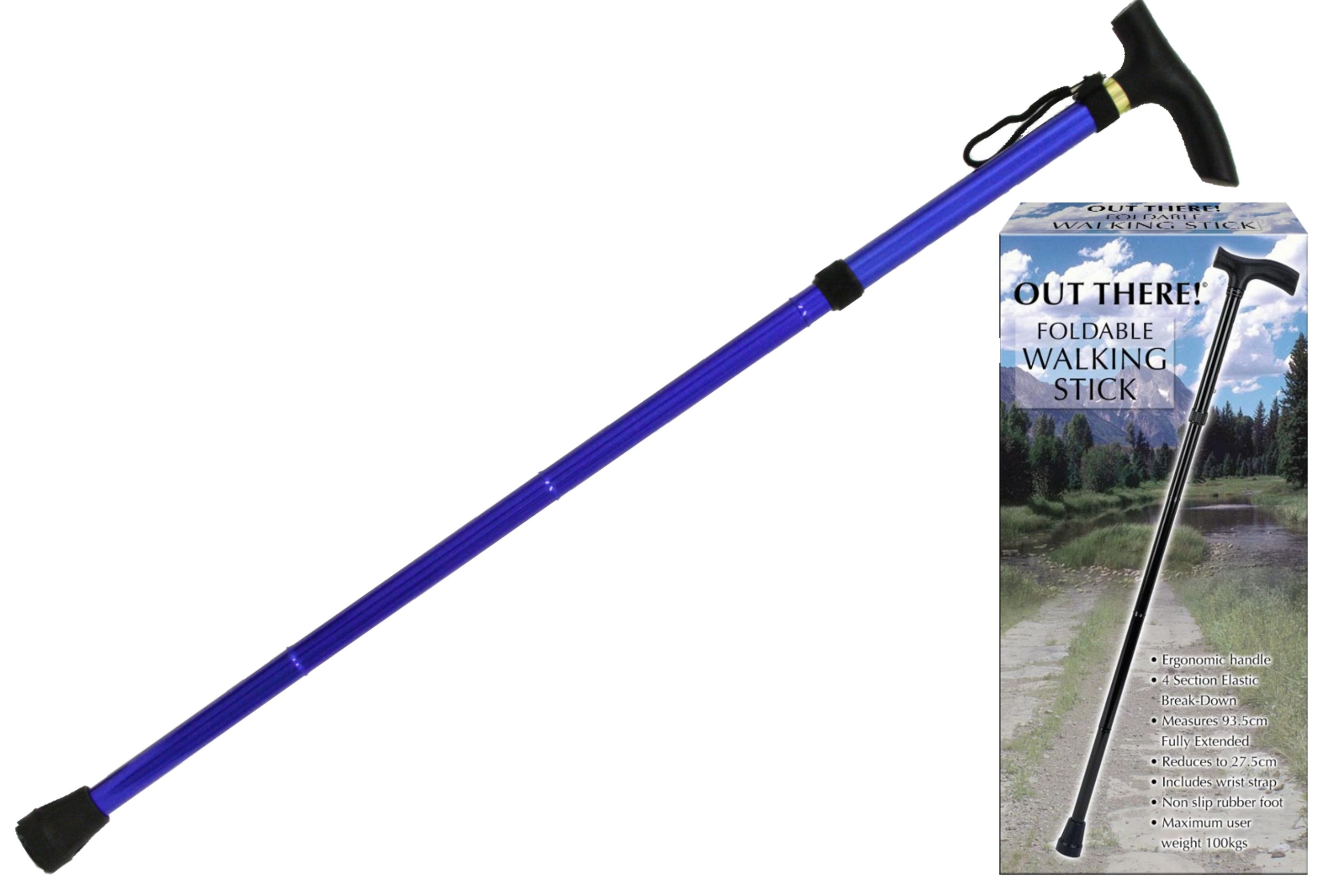 "Foldable Walking Stick In Colour Box ""Out There"""