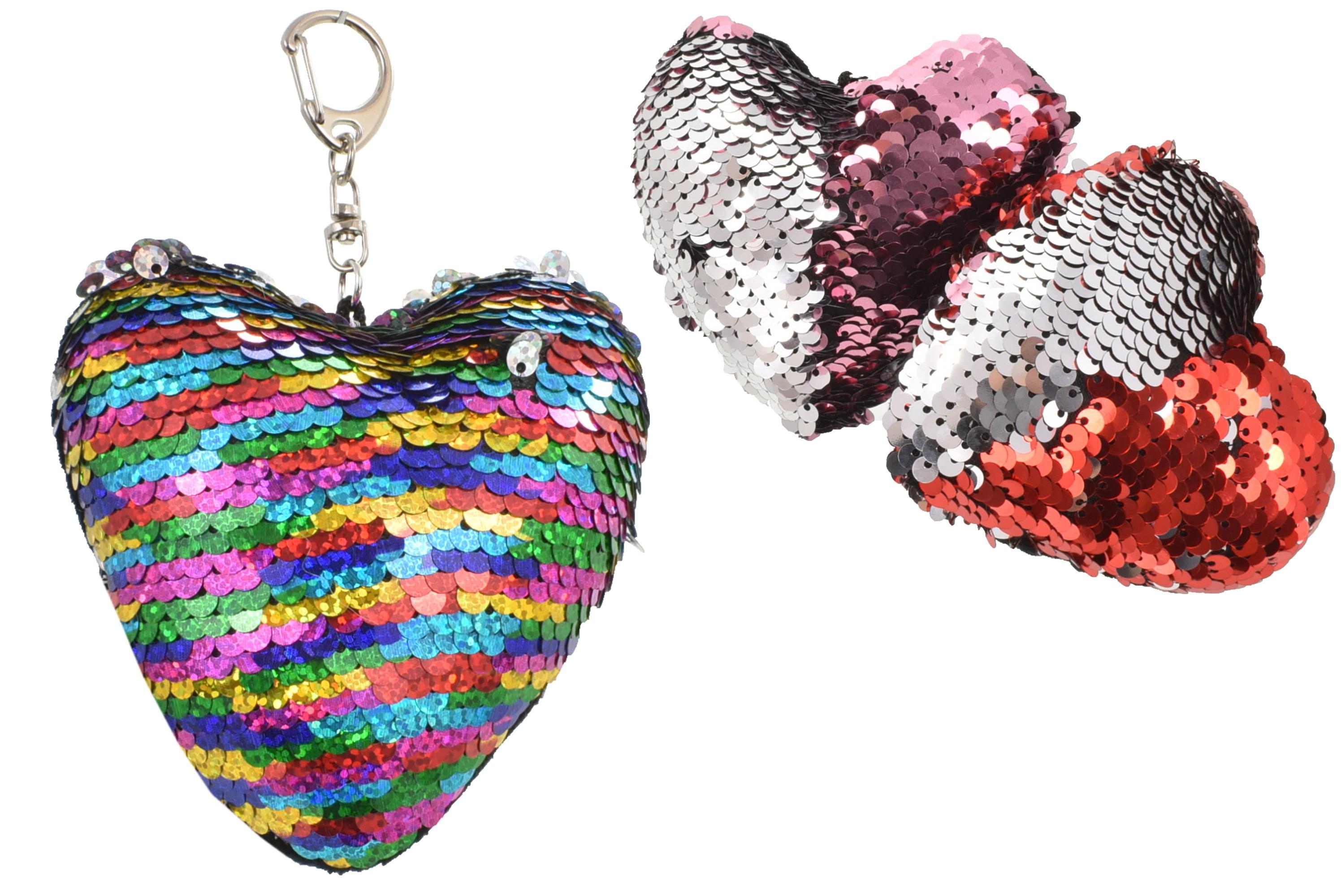 9x9cm Sequin Colour Change Heart Keyring 3 Asst Cols