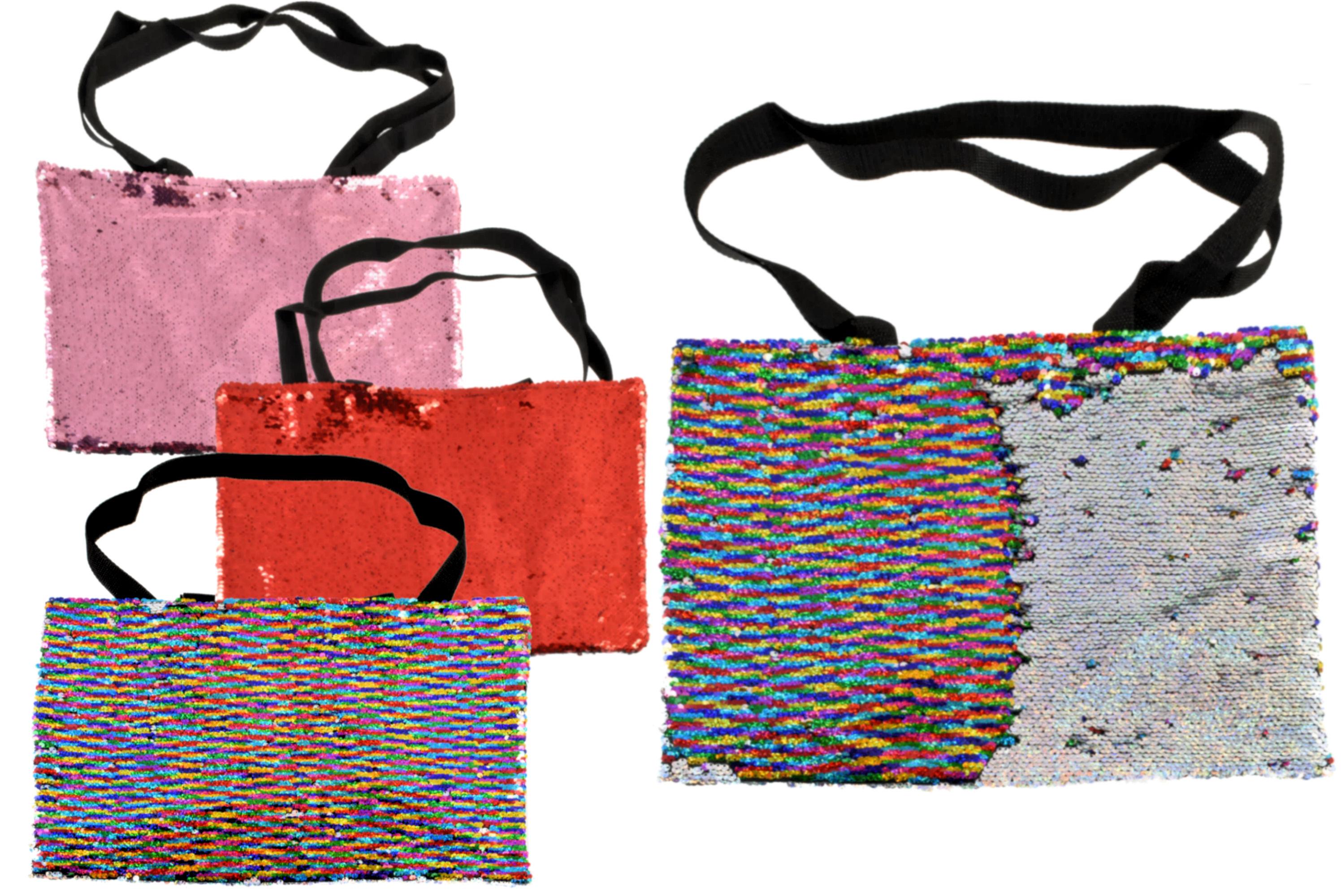 40x30cm Sequin Colour Shoulder Bag 3 Assorted Colours