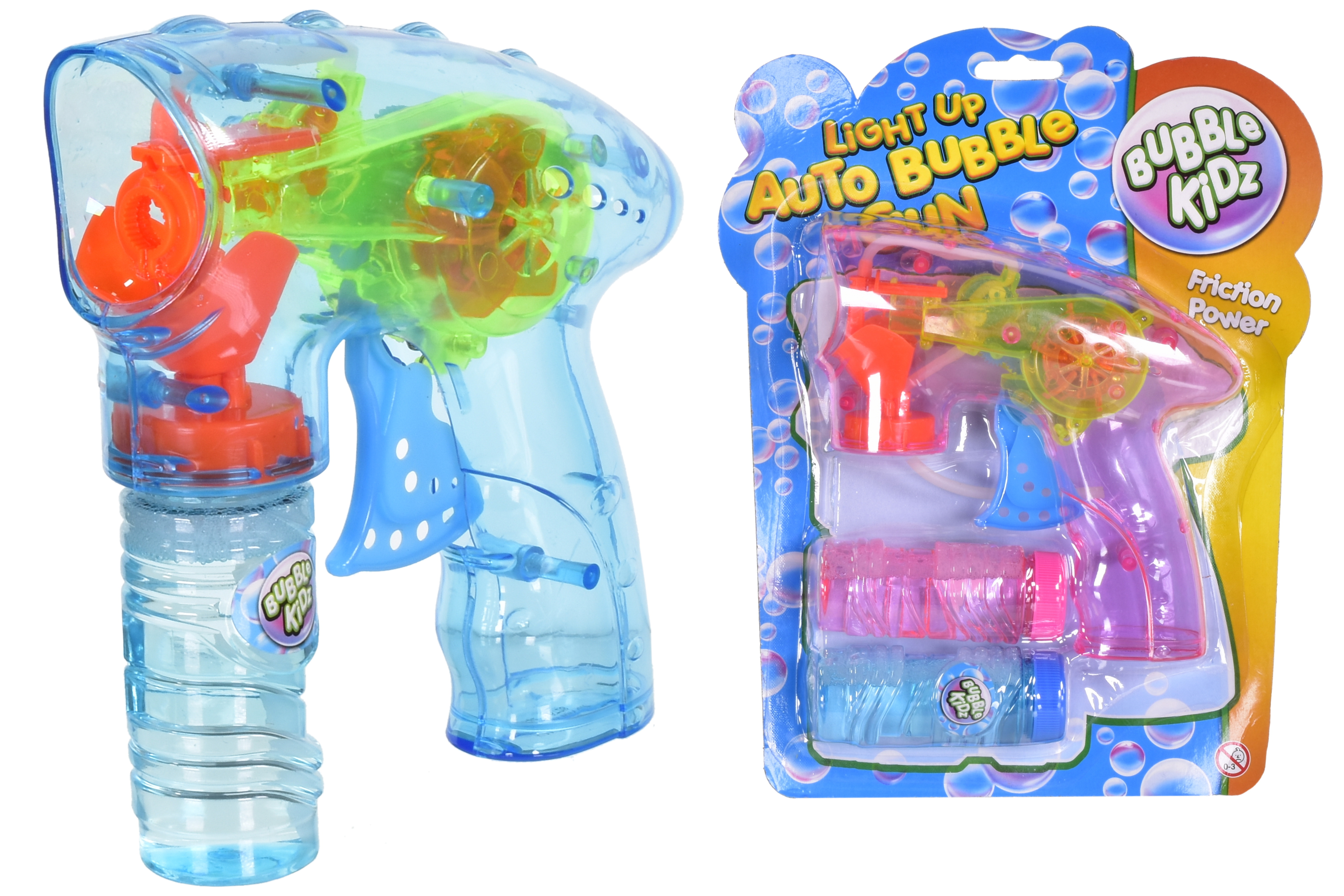 Auto Bubble Gun With Light (2 Asst) With 2 Bubble Tubs