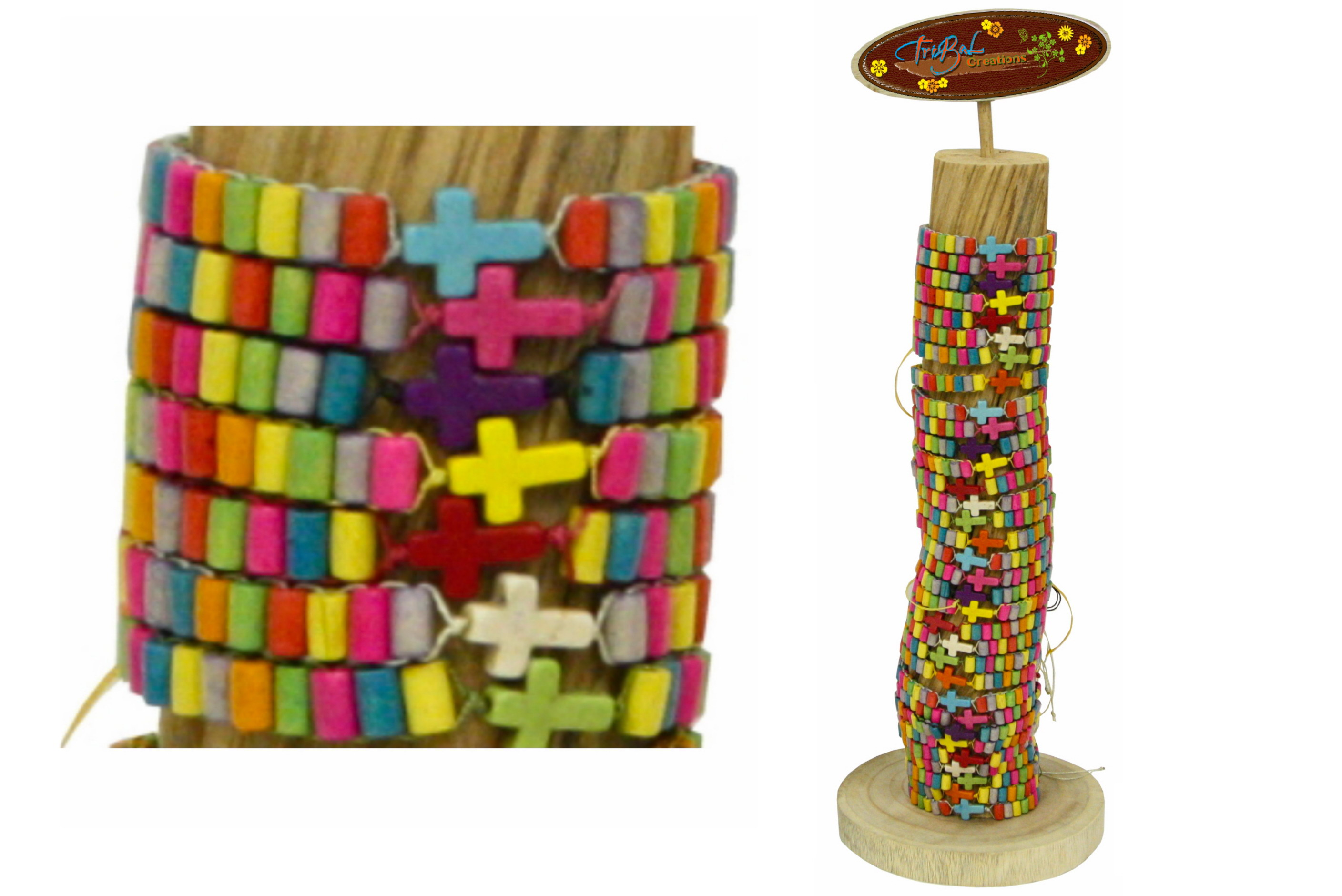 Bracelet With Brightly Coloured Beads On Vine Display