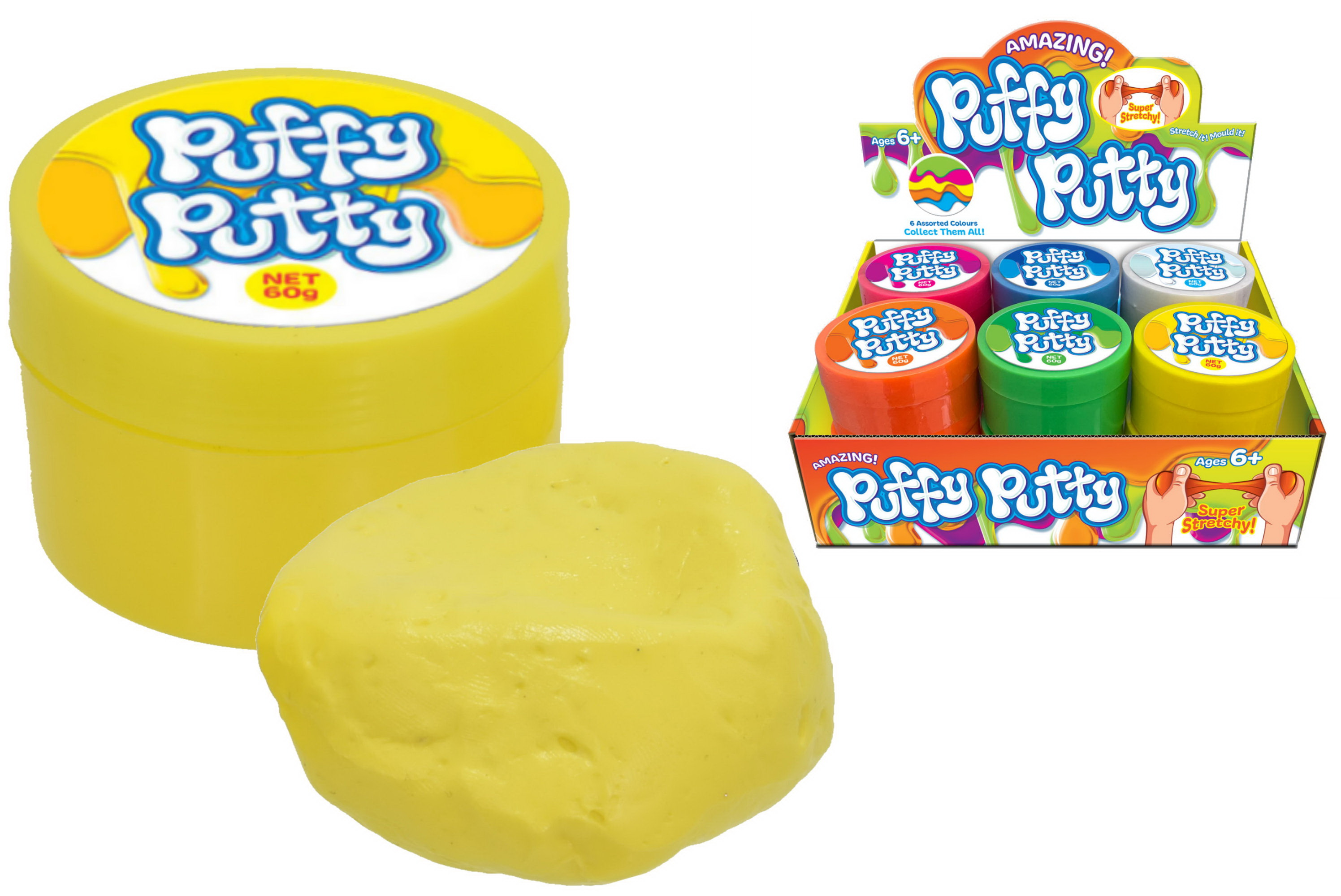 Puffy Putty (60g) 6 Assorted Colours In Display Box