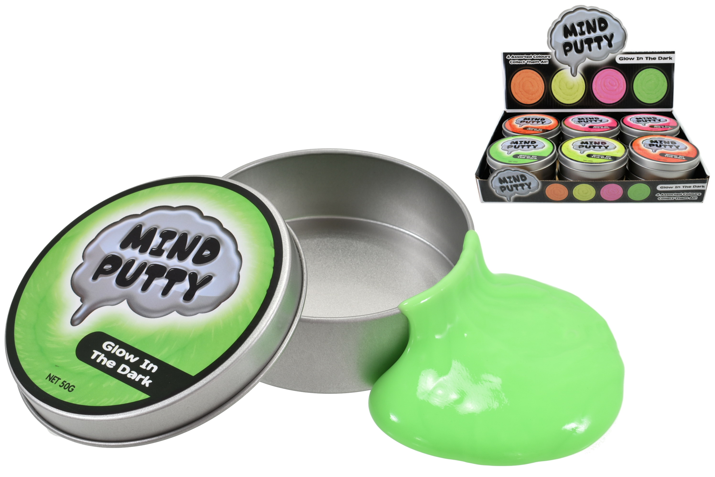 Glow In The Dark Thinking Putty (50g) In Tin & D/Box