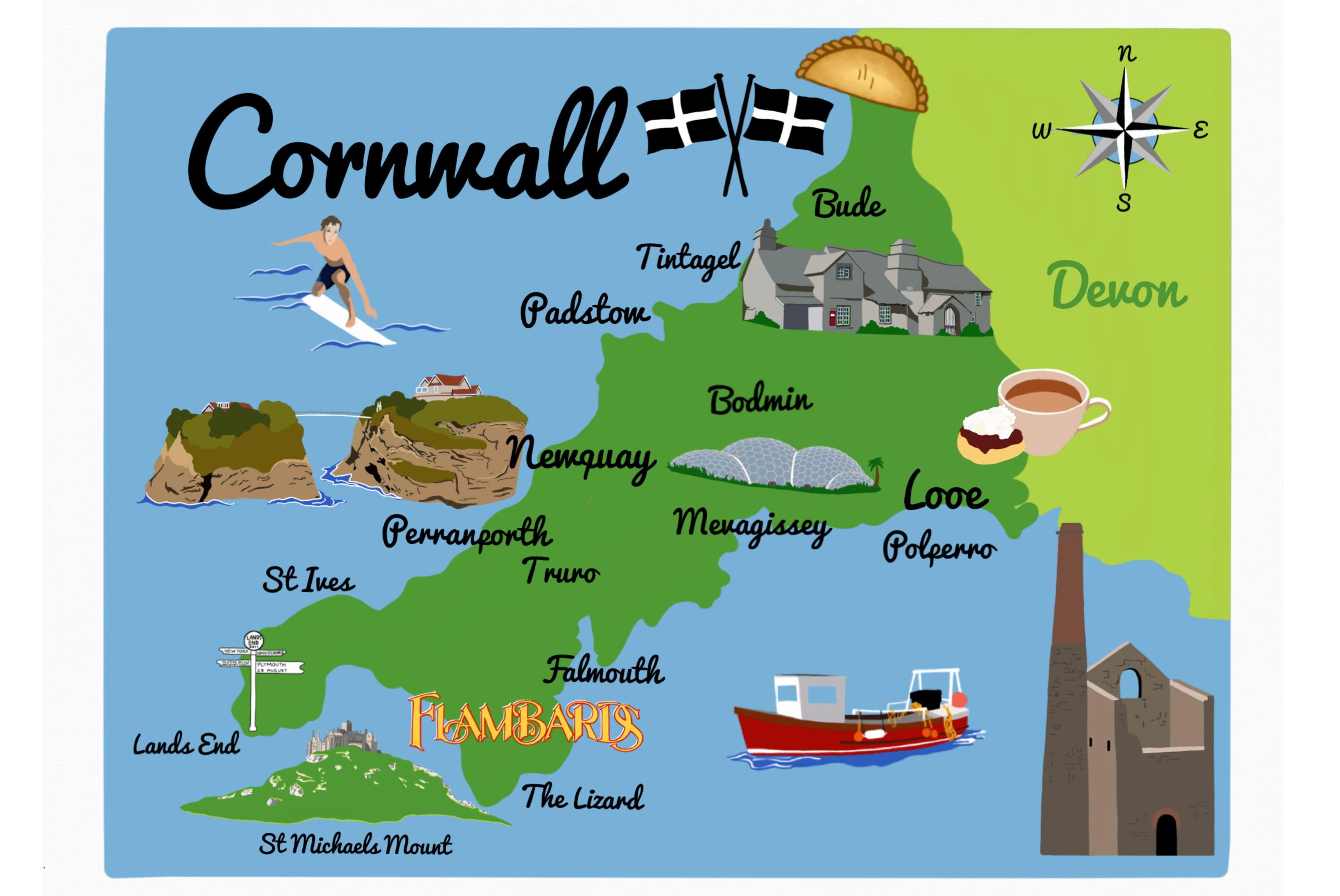 60x40cm Cornwall Economy Tea Towel Cornwall Scenes