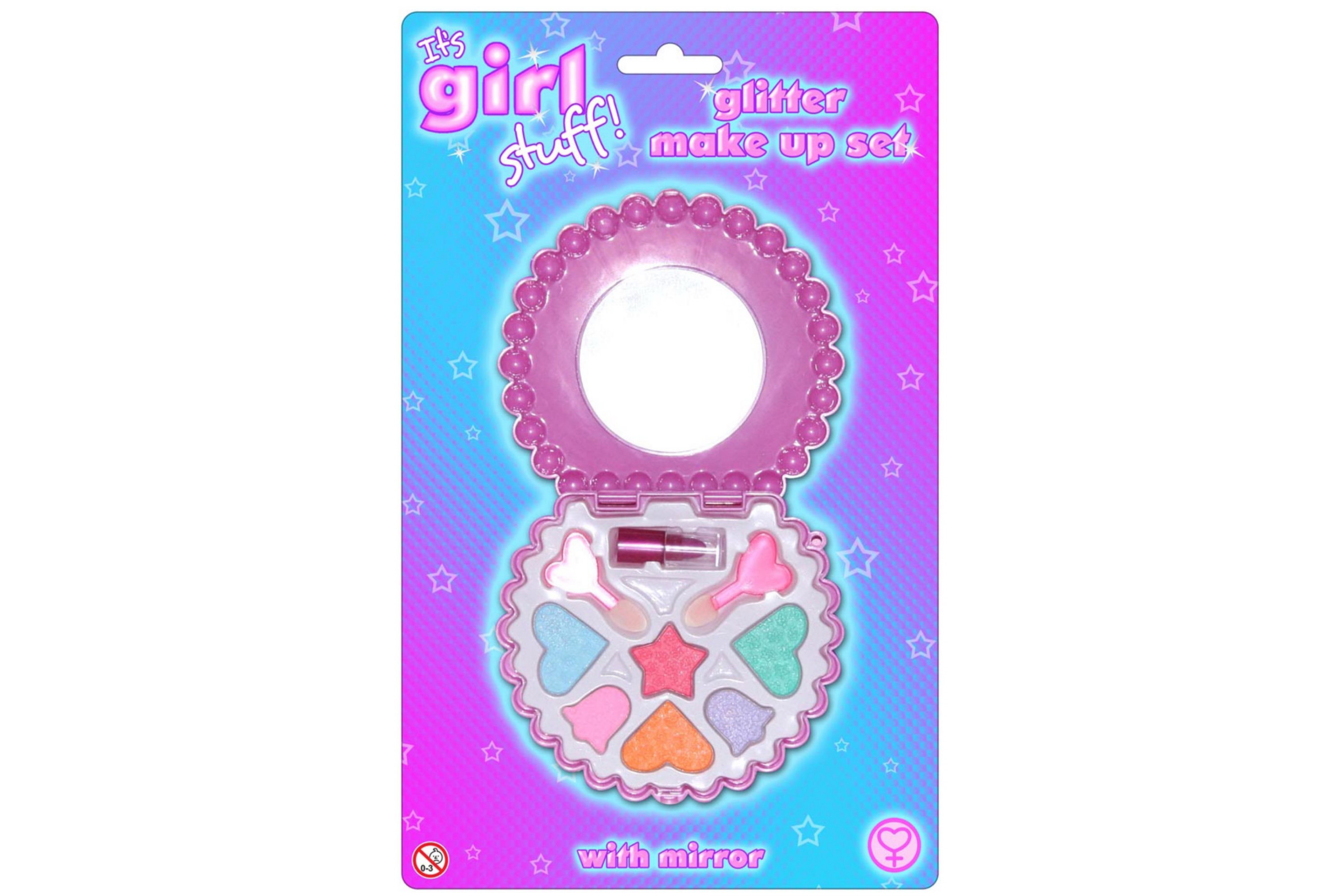 "Glitter Make Up Set With Mirror ""Its Girl Stuff"""
