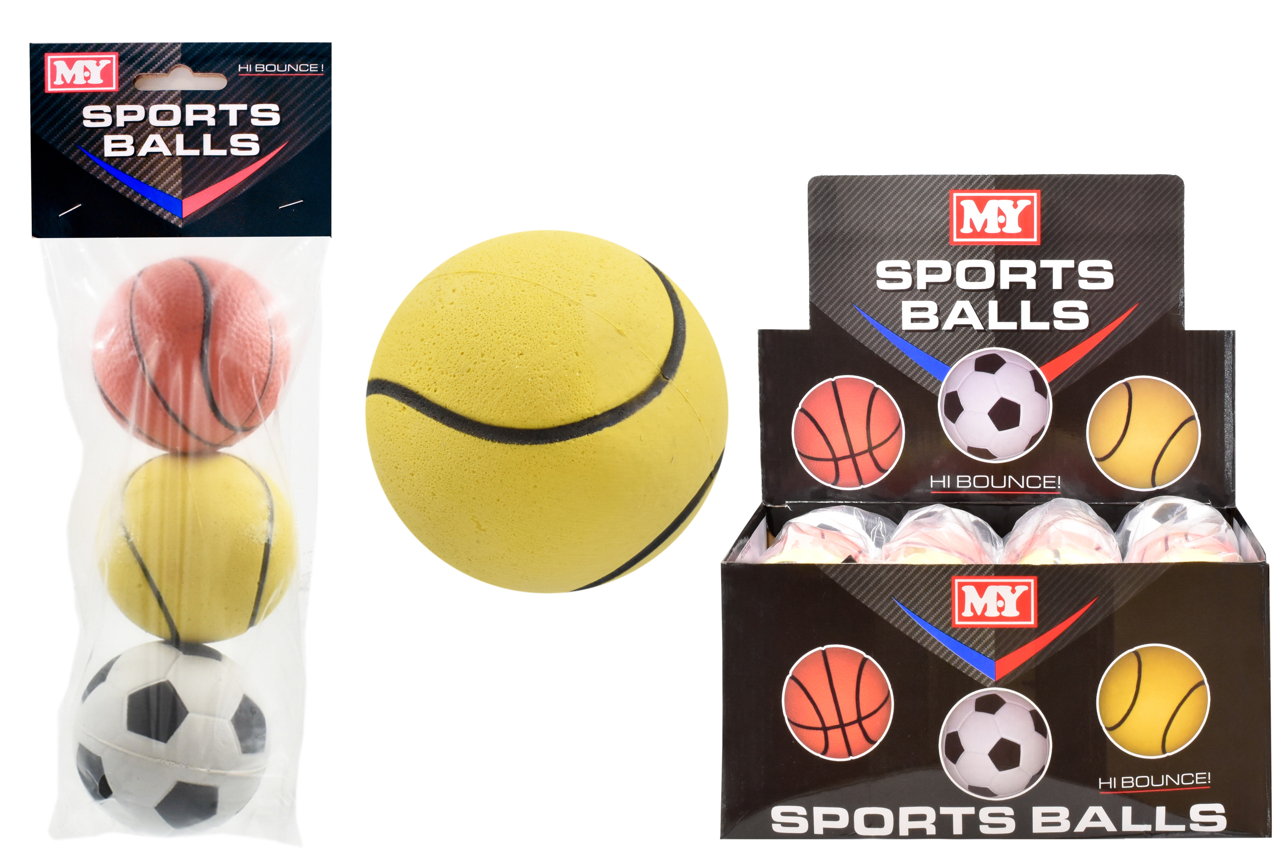 "3 Asst Rubber Sponge Balls P/Bag/Header In D/Box ""M.Y"""