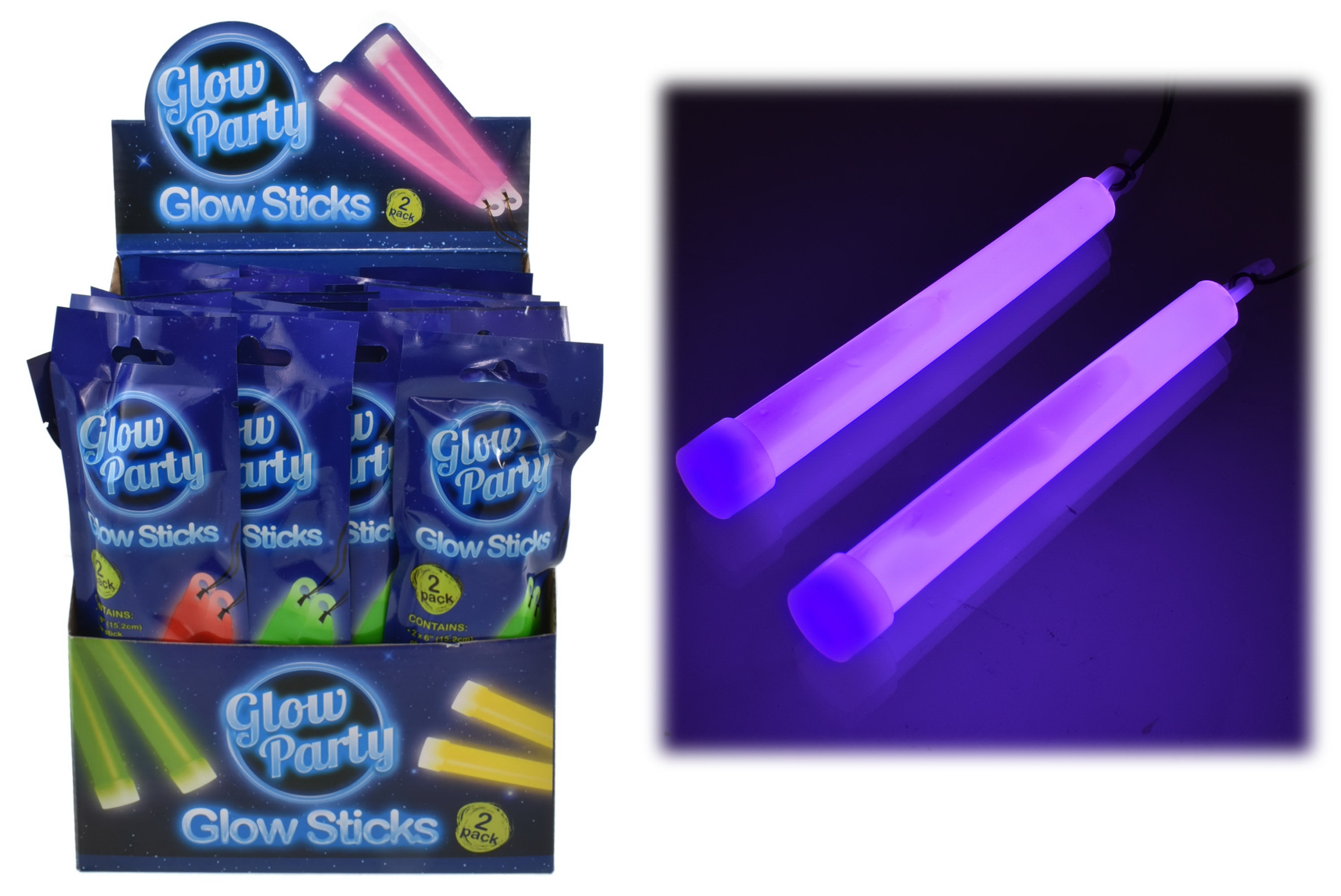 "2pc 6"" Glow Sticks In Colour Foil Bag & Display Box"