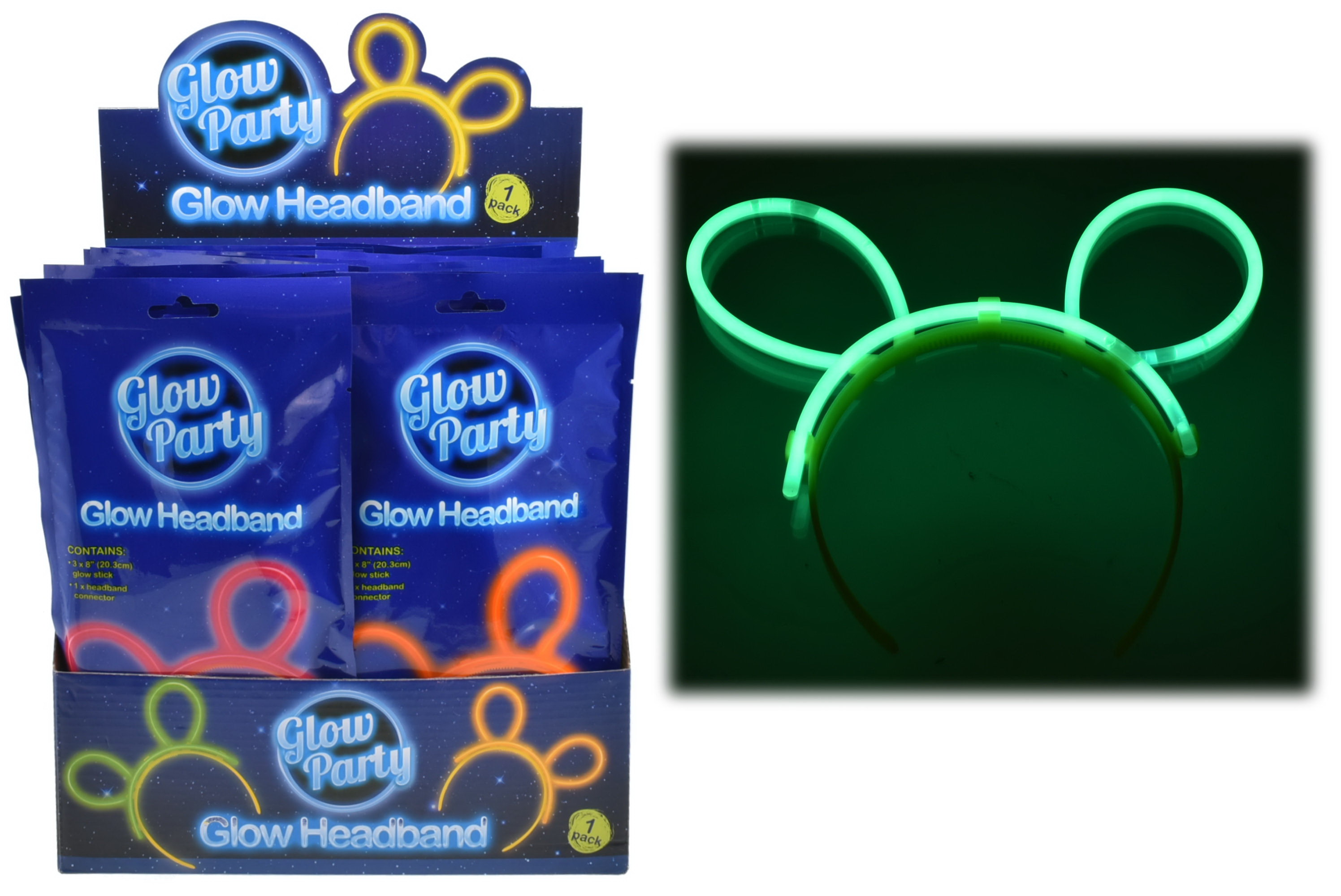 Glow Headband In Colour Foil Bag & Display Box