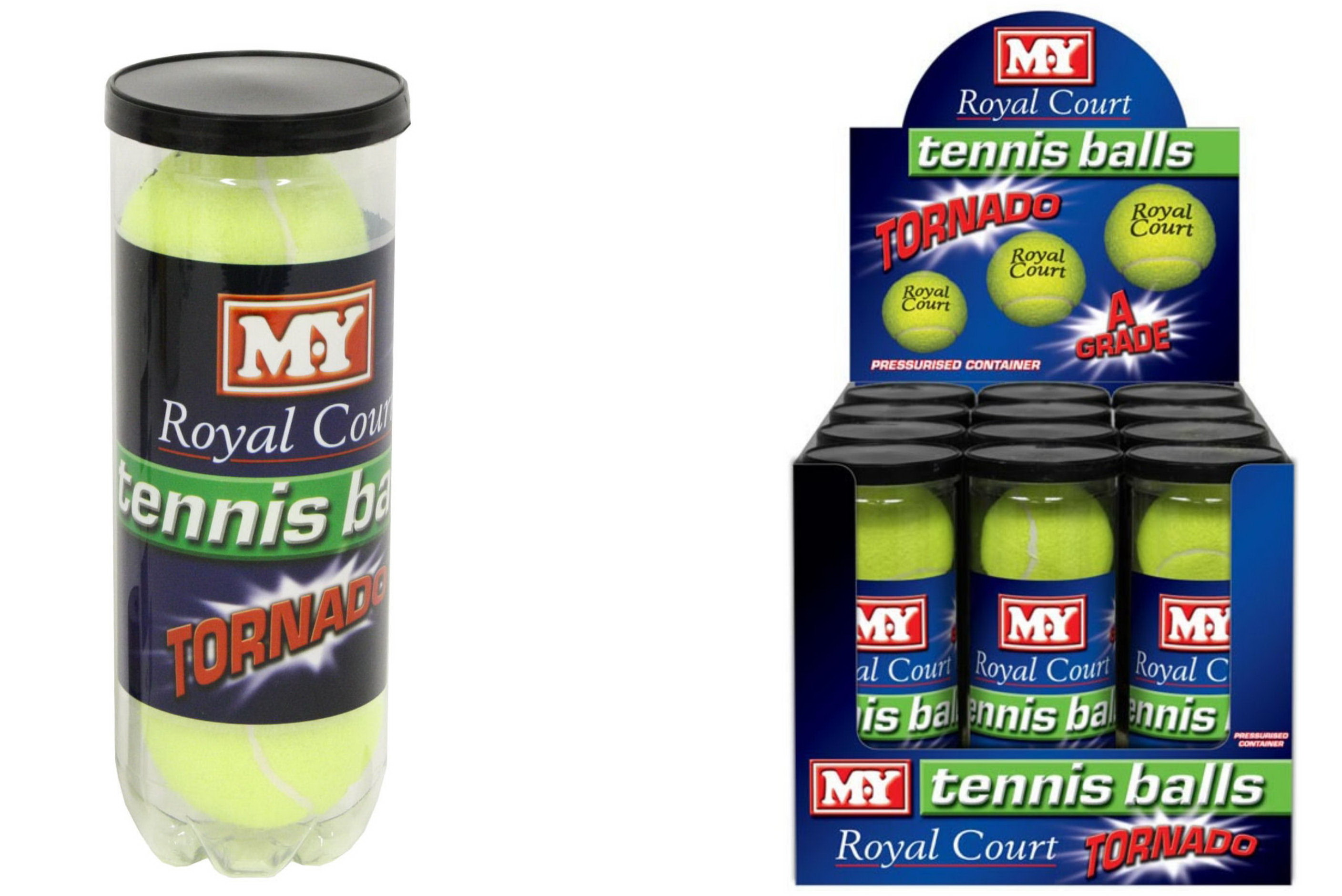 "3pk Tennis Ball Pressurised Tube ""M.Y Royal Court"" Dbx"