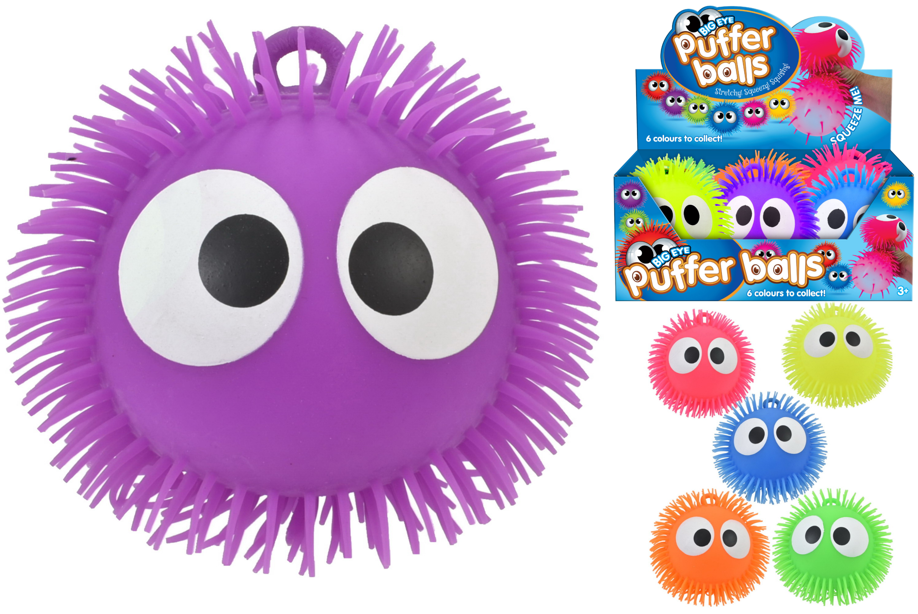 "9"" Big Eye Puffer Ball 6 Assorted Colours Display Box"