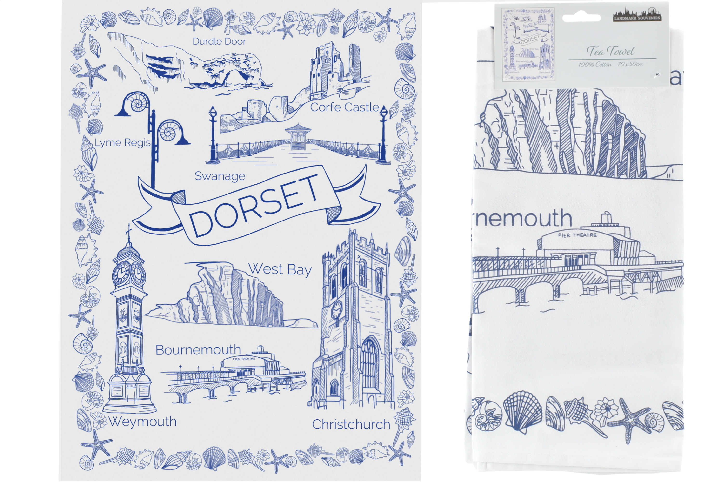 Dorset Sketch Printed Tea Towel