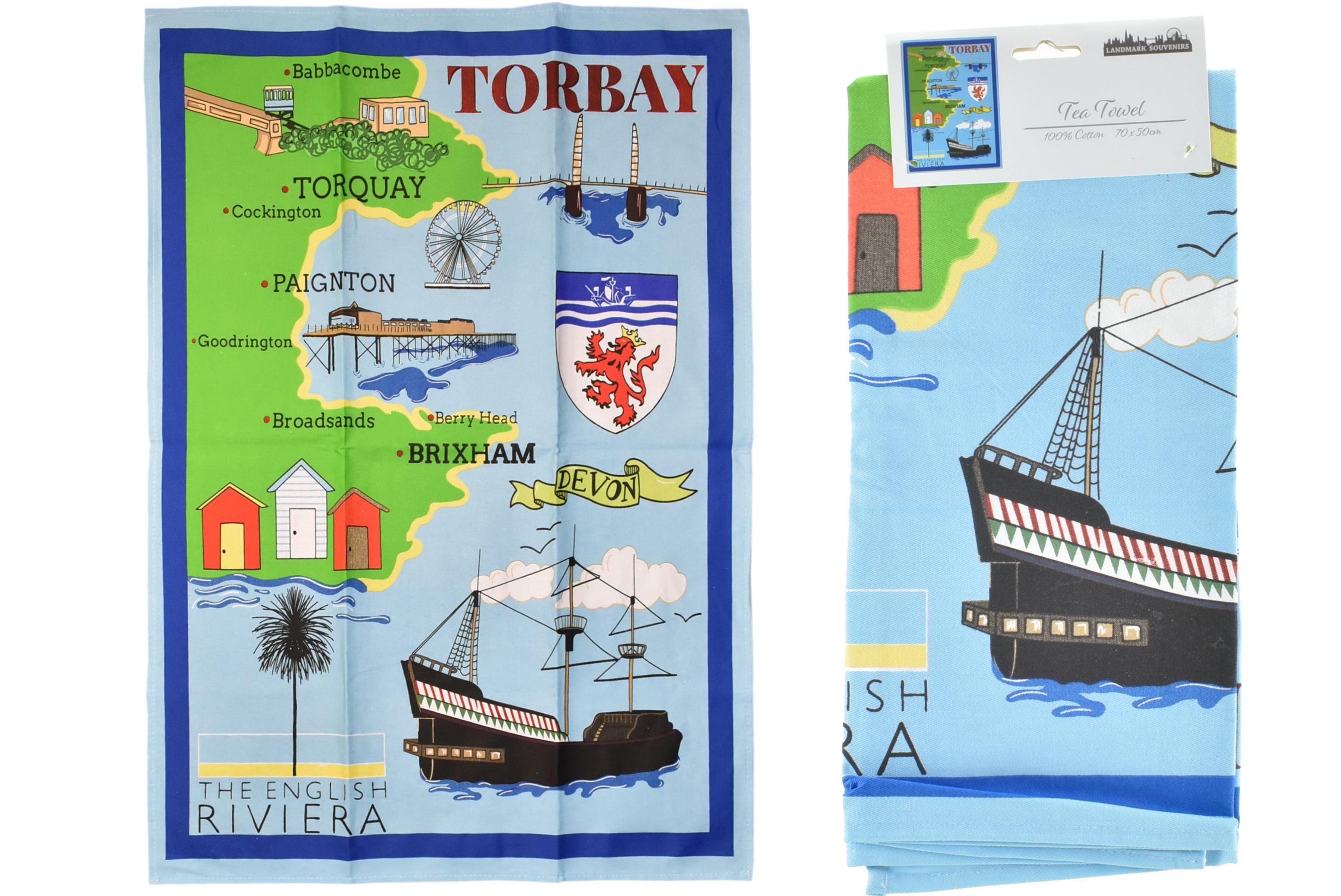 Torbay Sketch Printed Tea Towel