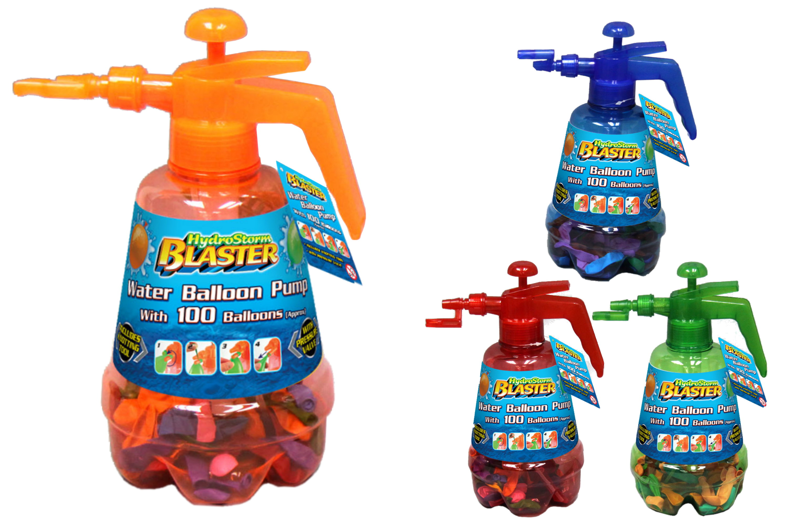 Water Ballon Pump With 100 Ballons (4 Assorted Colours)