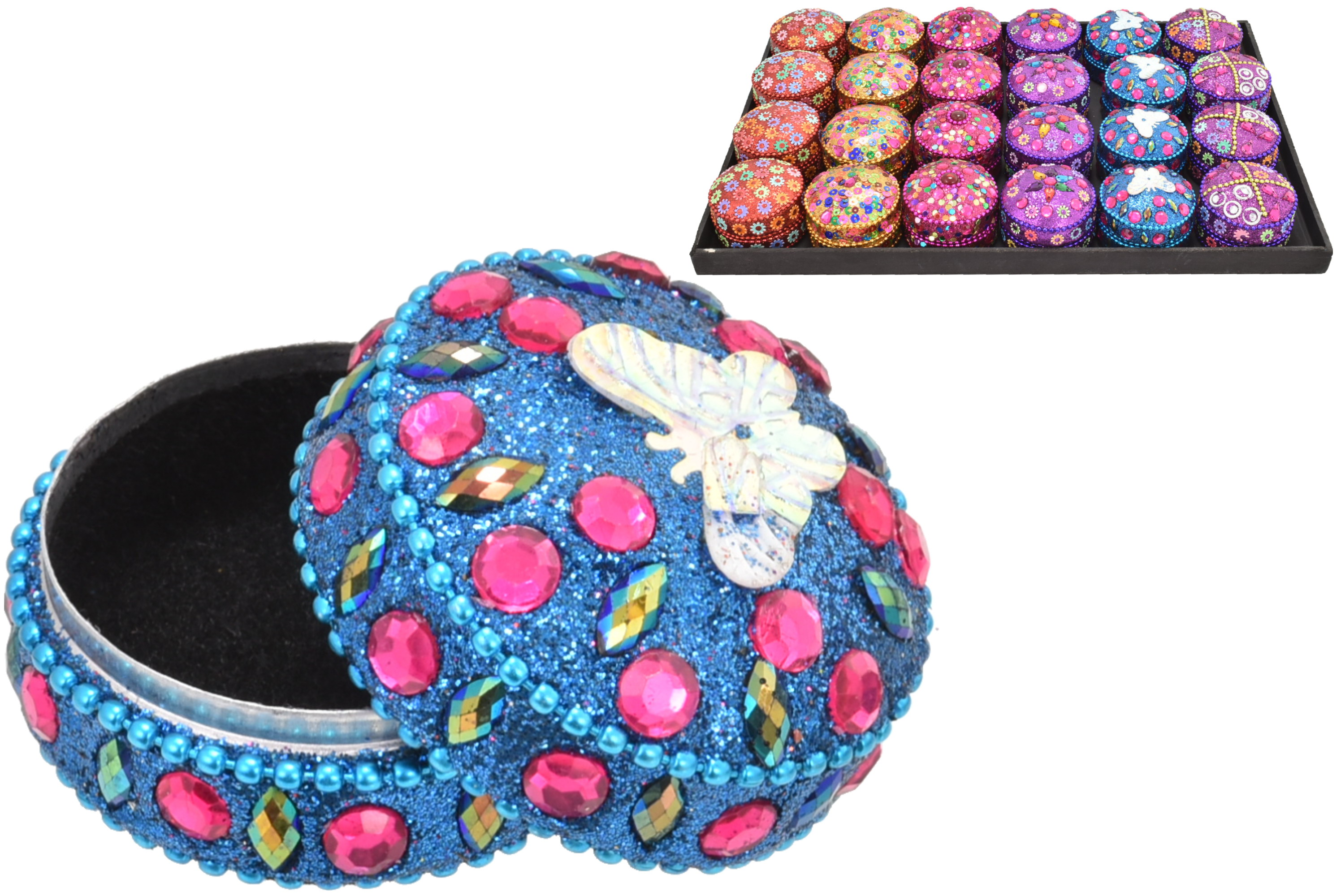 5cm Round Sequin Trinket Box In Display Tray