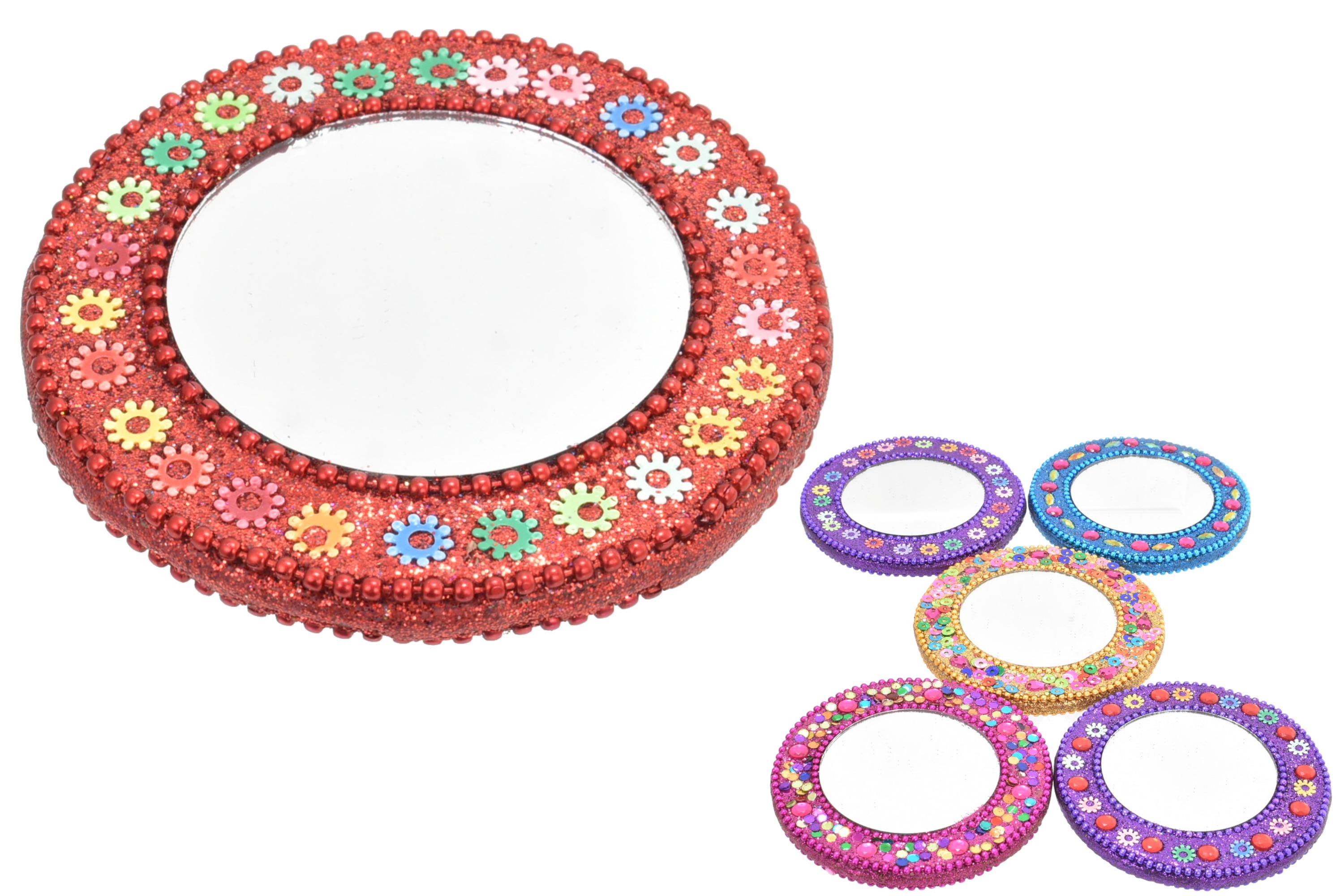 7.5cm Mirror With Glitter Decoration