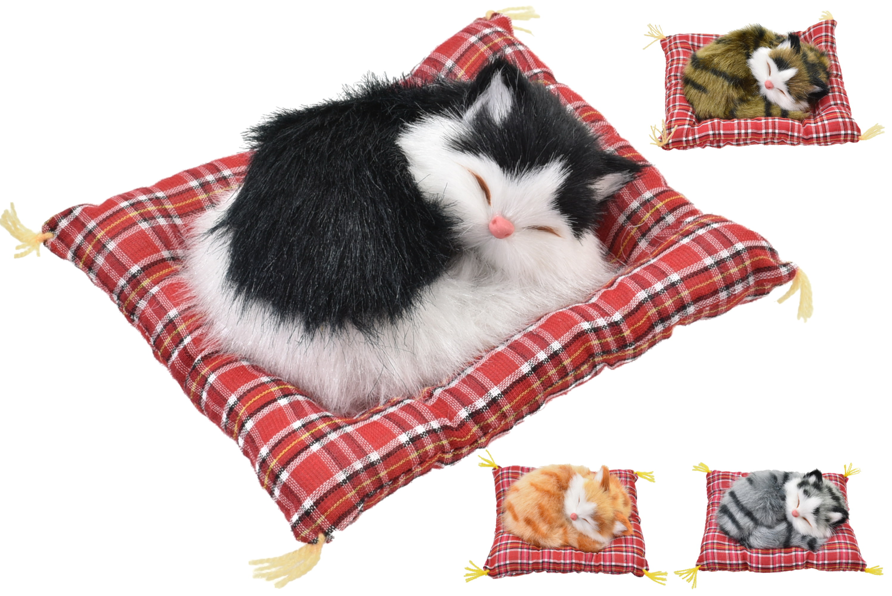 13cm Cats Lying On Blankets - 4 Assorted Colours