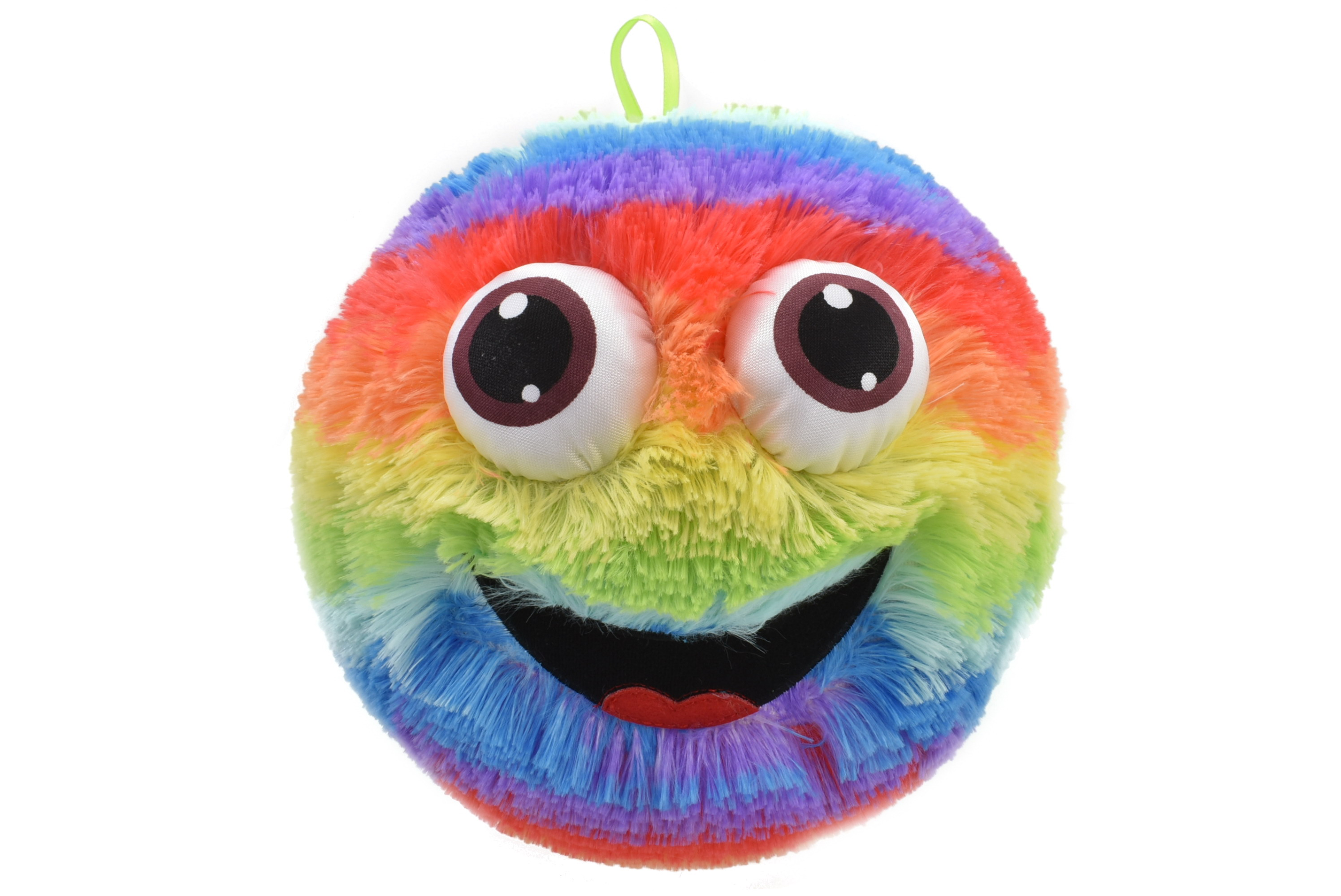 "9"" Fuzzy Face Ball - Rainbow - 3 Assorted - Netted"