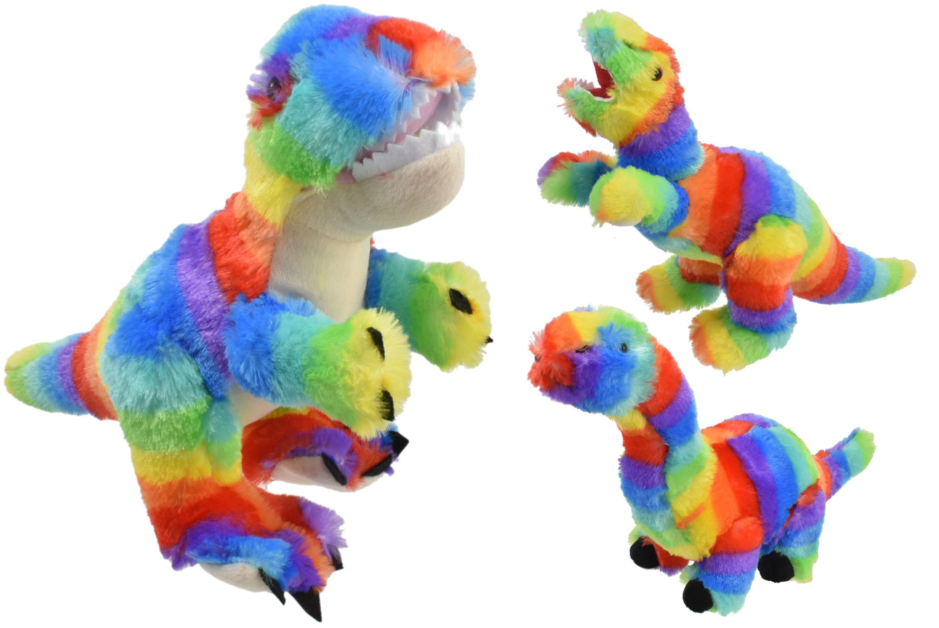 Plush Multi Coloured Dinosaurs - 3 Assorted