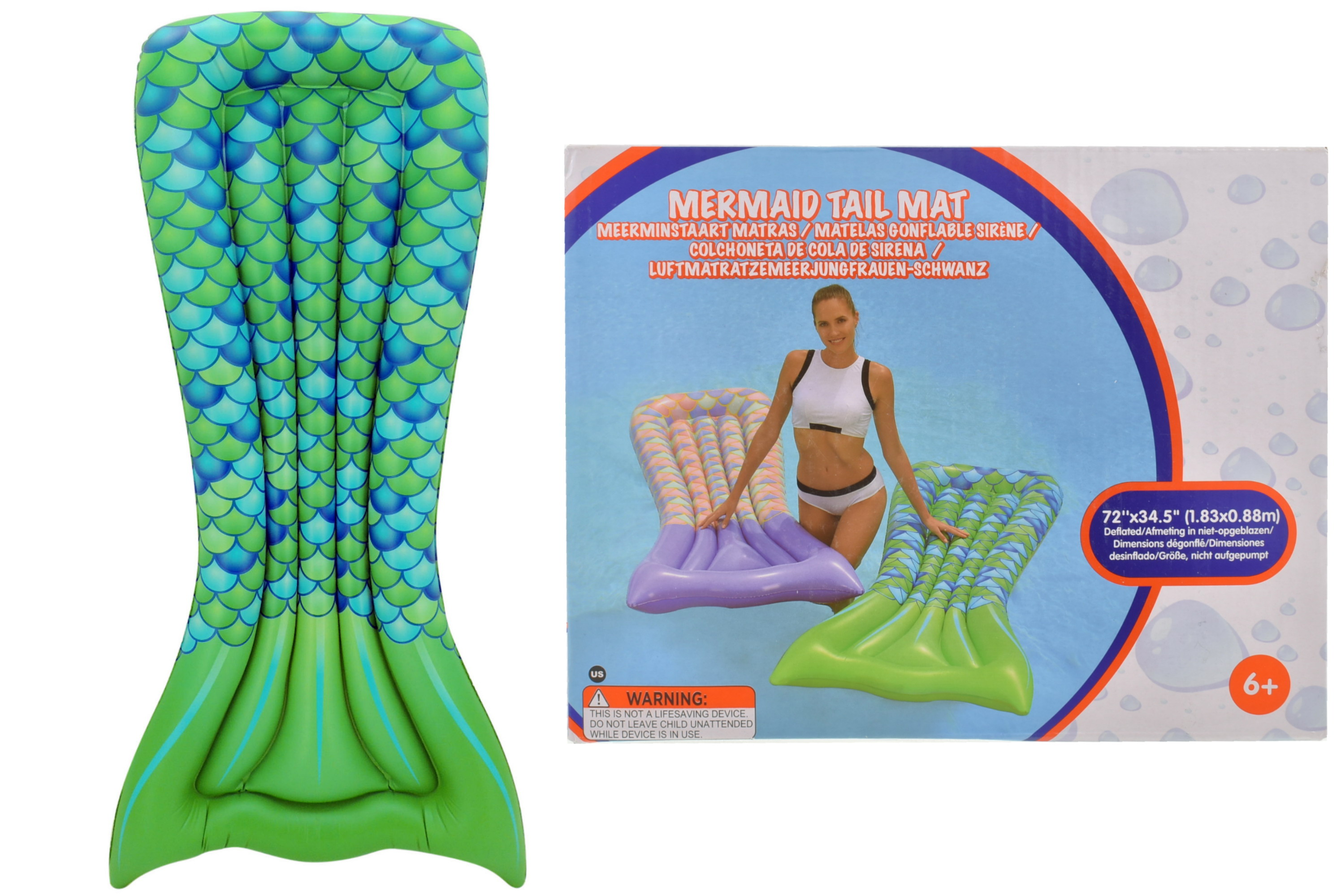 "Mermaid Tail Green Mat 69.5"" x 32.5"" x 6"""