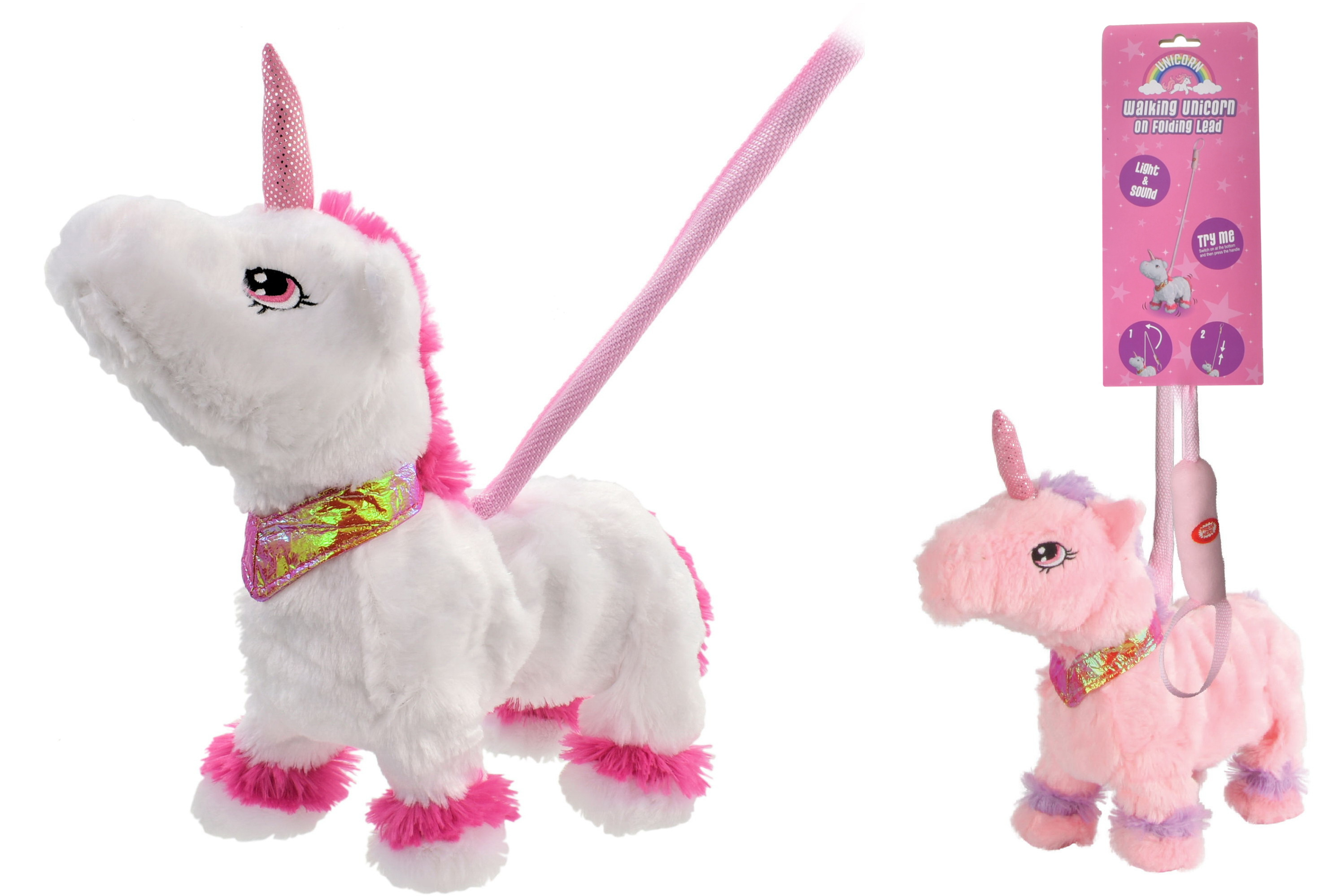 """Walking Unicorn """"Try Me"""" With Sound On Telescopic Lead"""