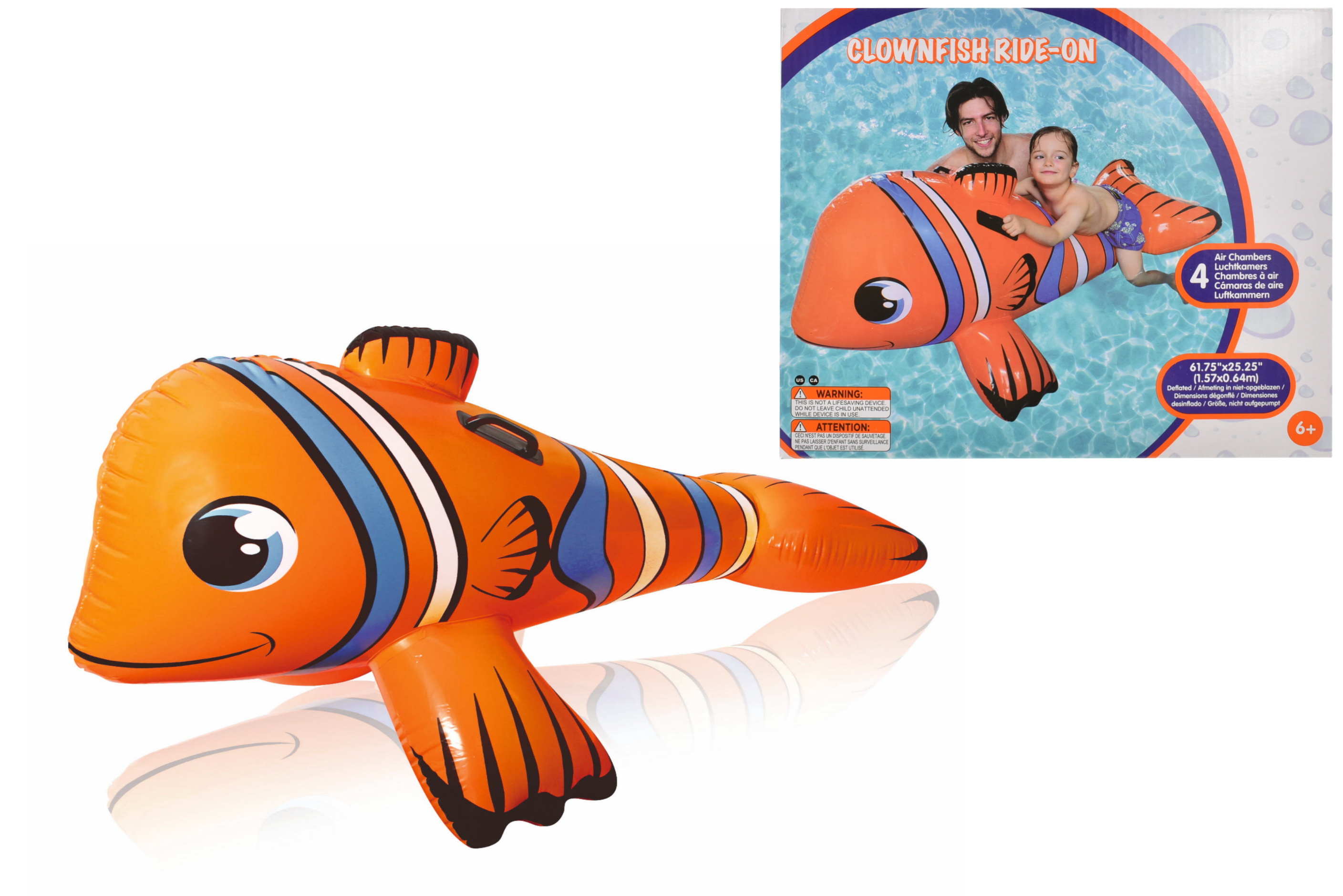"Clown Fish Ride-On 62"" x 25"""