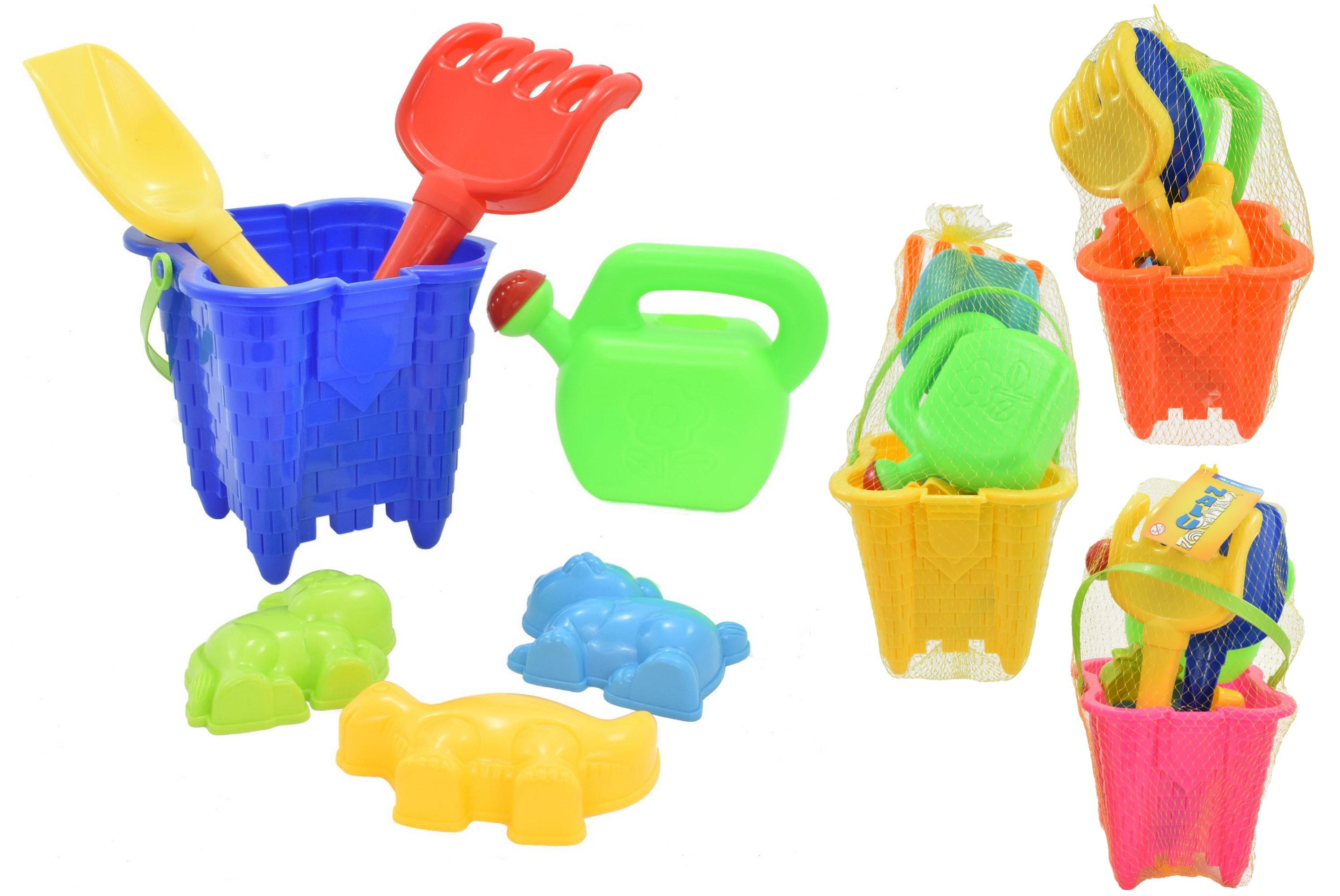 7pc Square Castle Bucket Set Assorted Colours