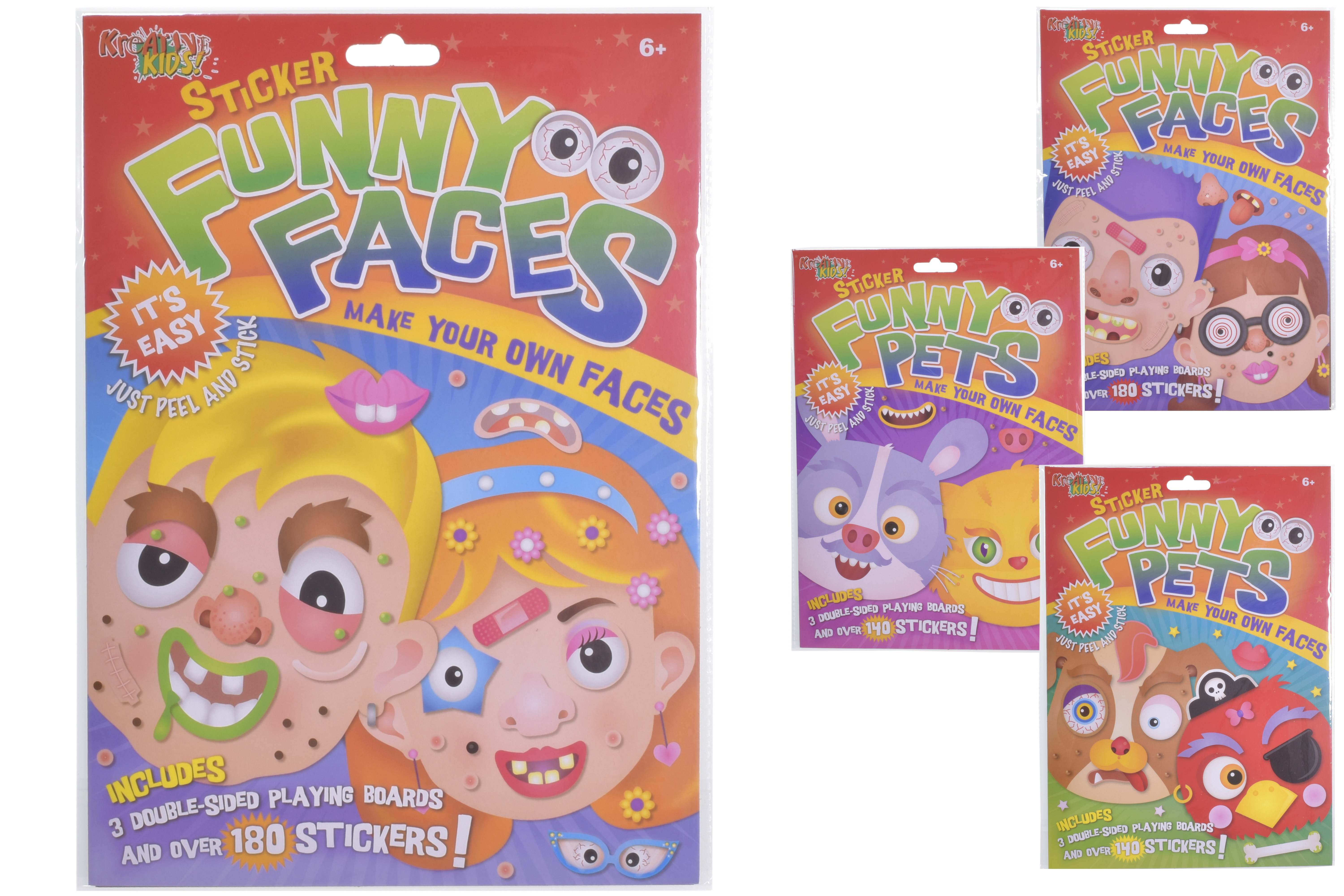 Sticker Funny Faces & Pets (4 Assorted) In Hanging Bag