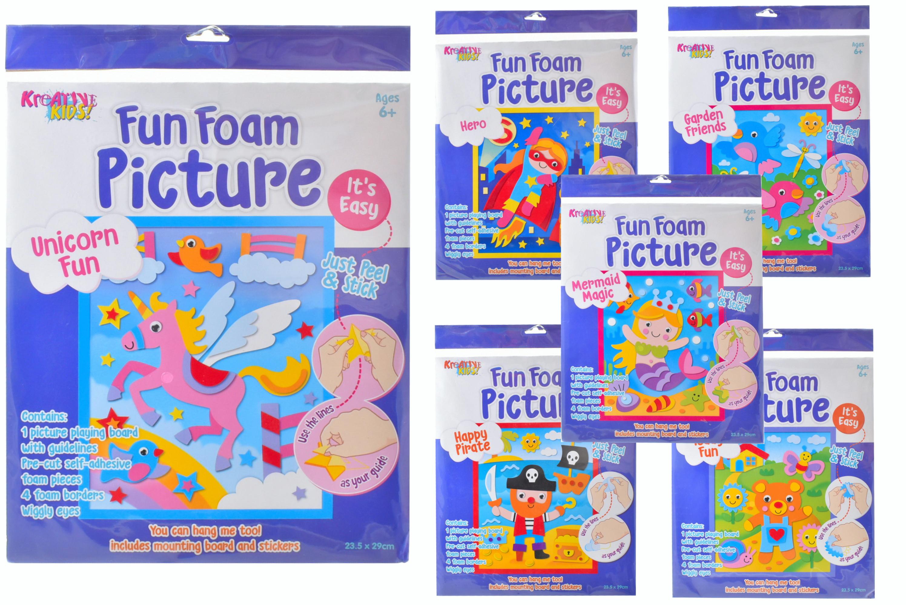 Fun Foam Pictures (6 Assorted) In Hanging Bag
